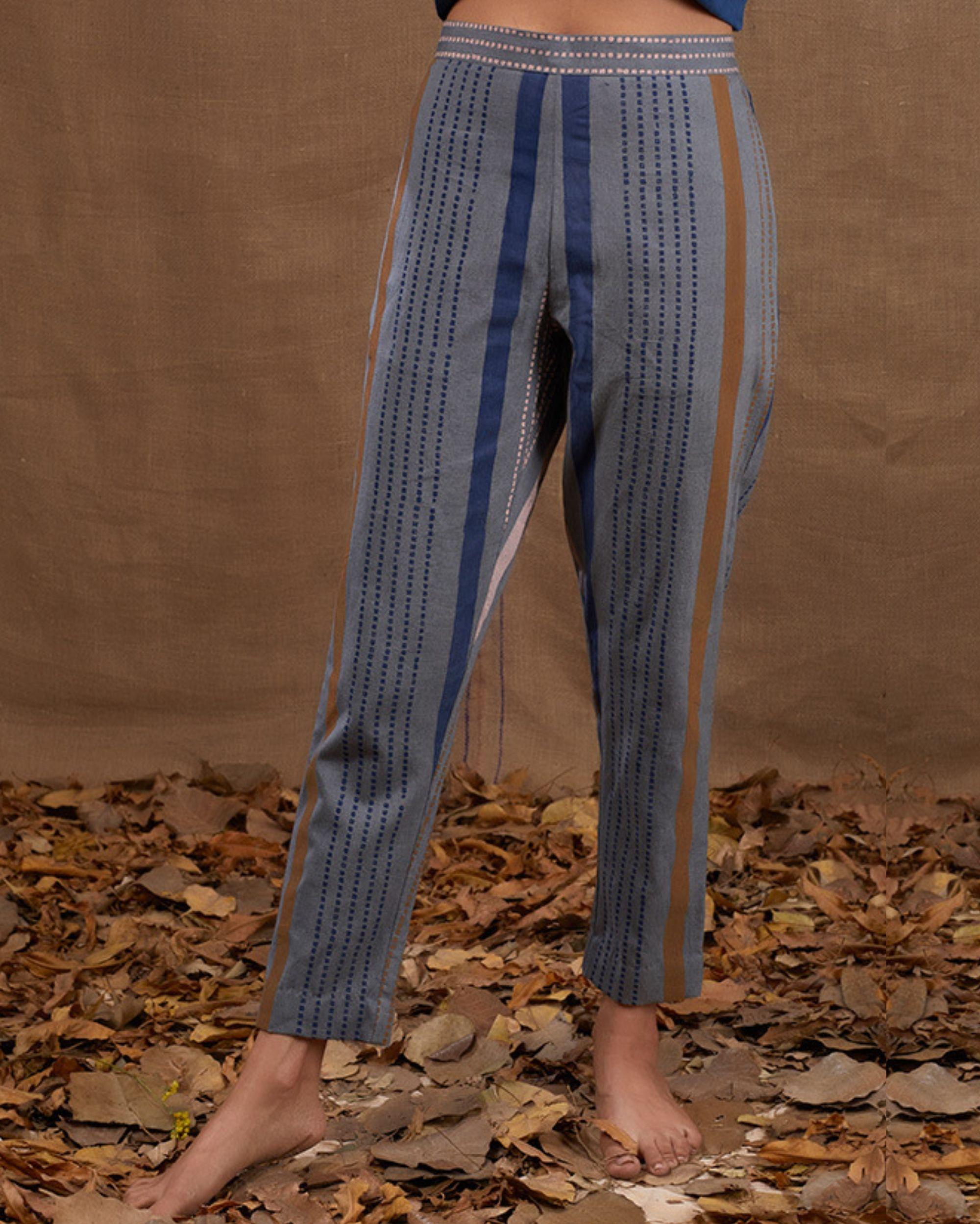 Blue stripes khadi pant