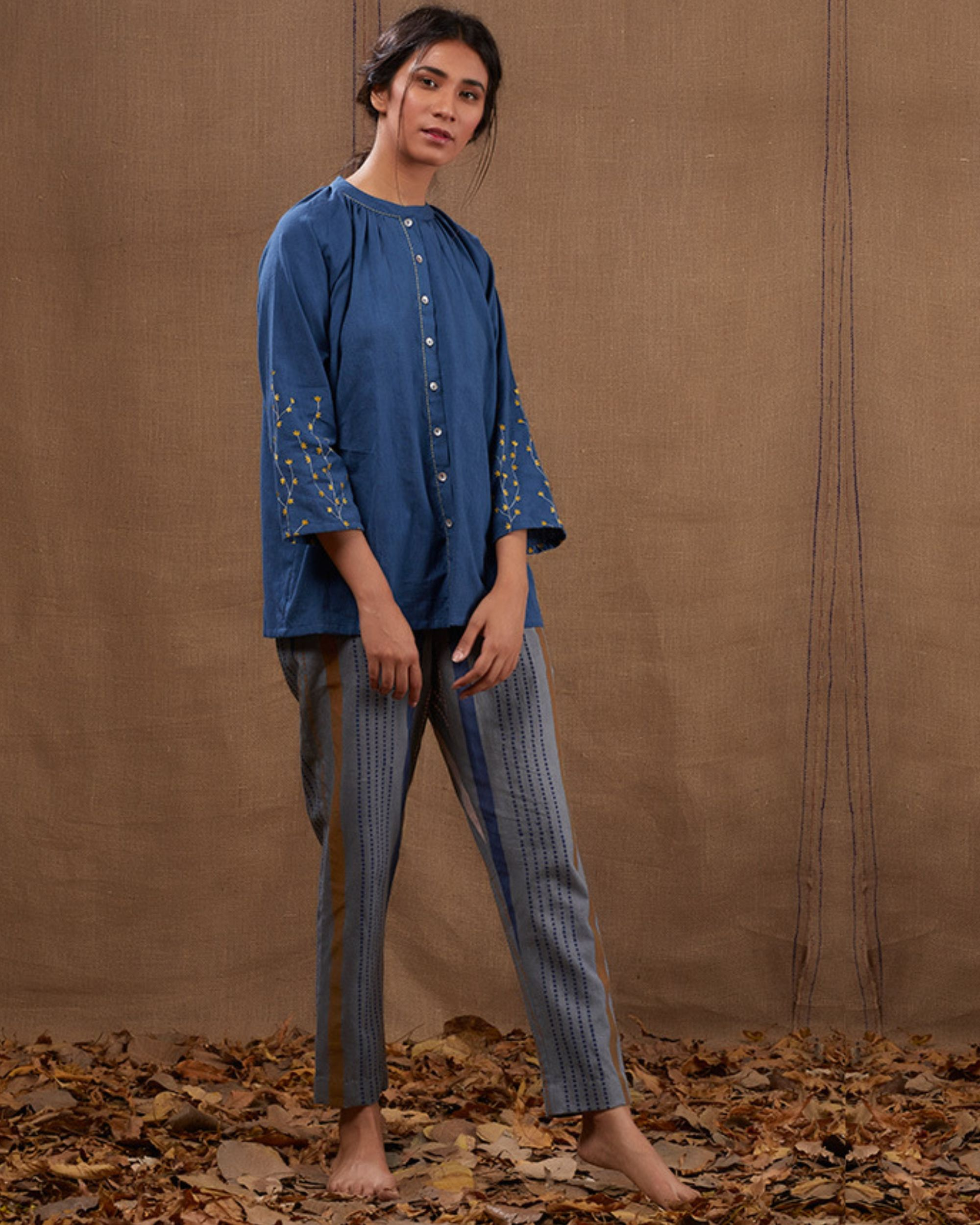 Indigo cotton embroidered top with pants - set of two