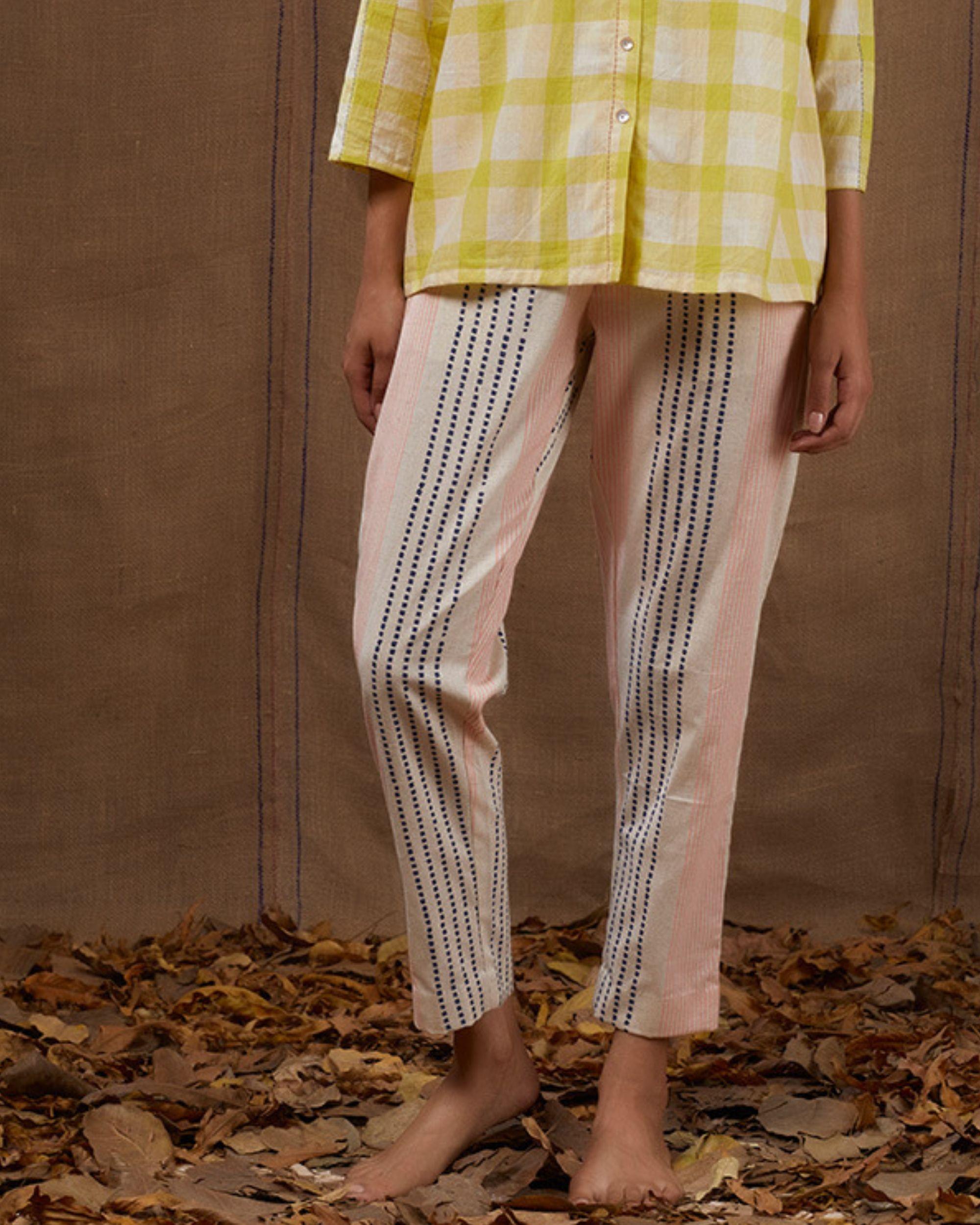 Ivory and pink block print pants