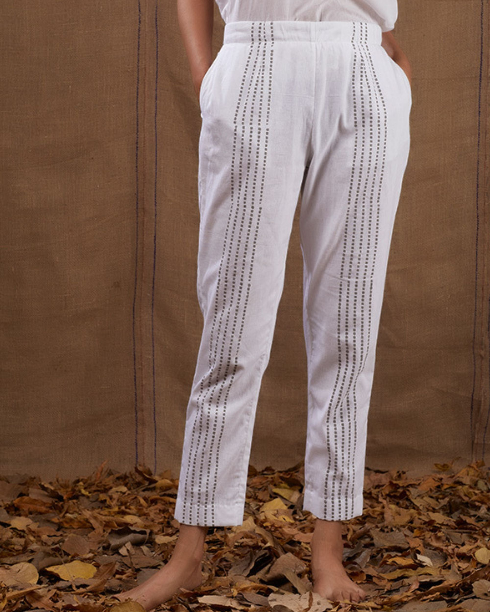Ivory block printed straight pants