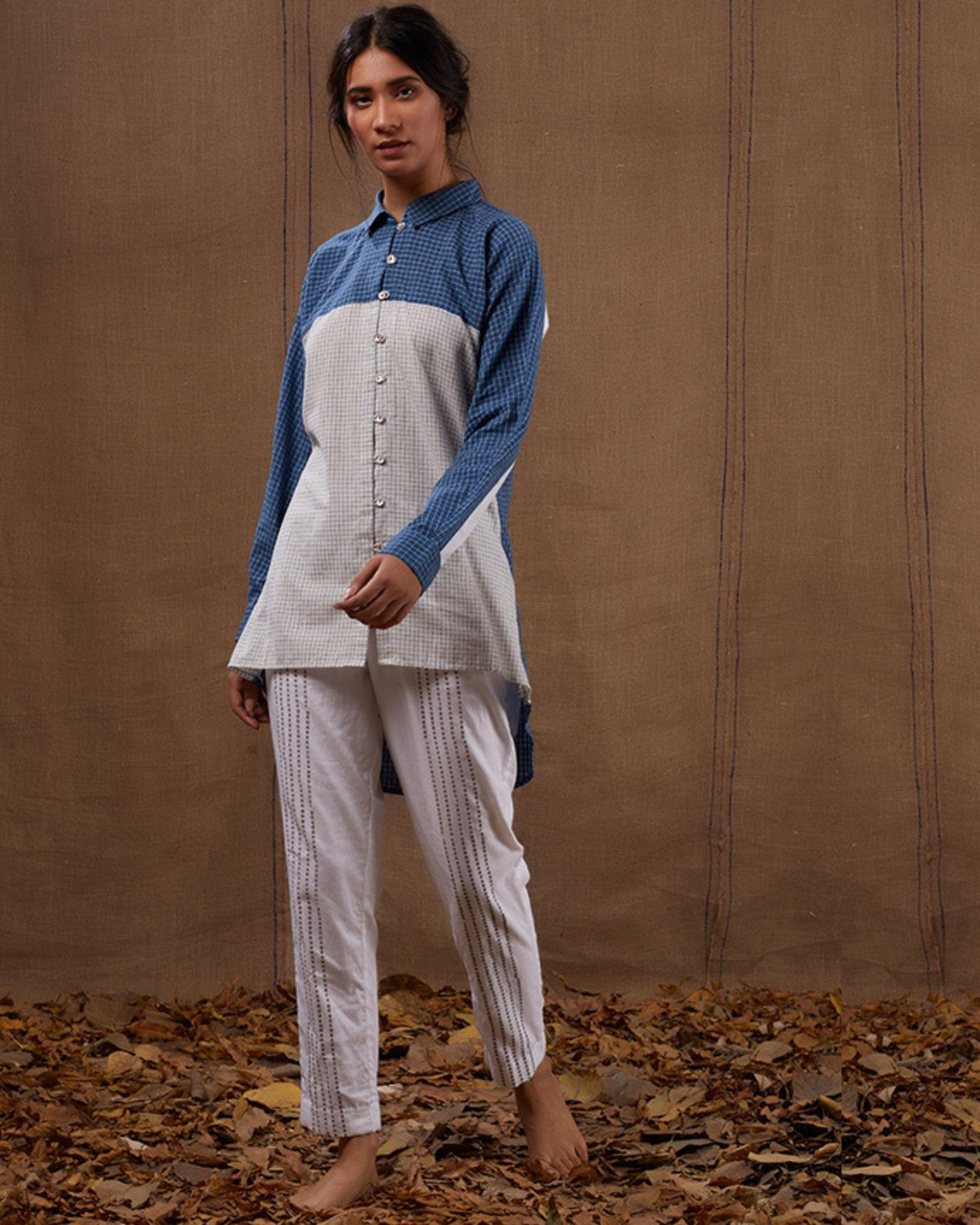 Cotton blue-white checks shirt with pants - Set of two