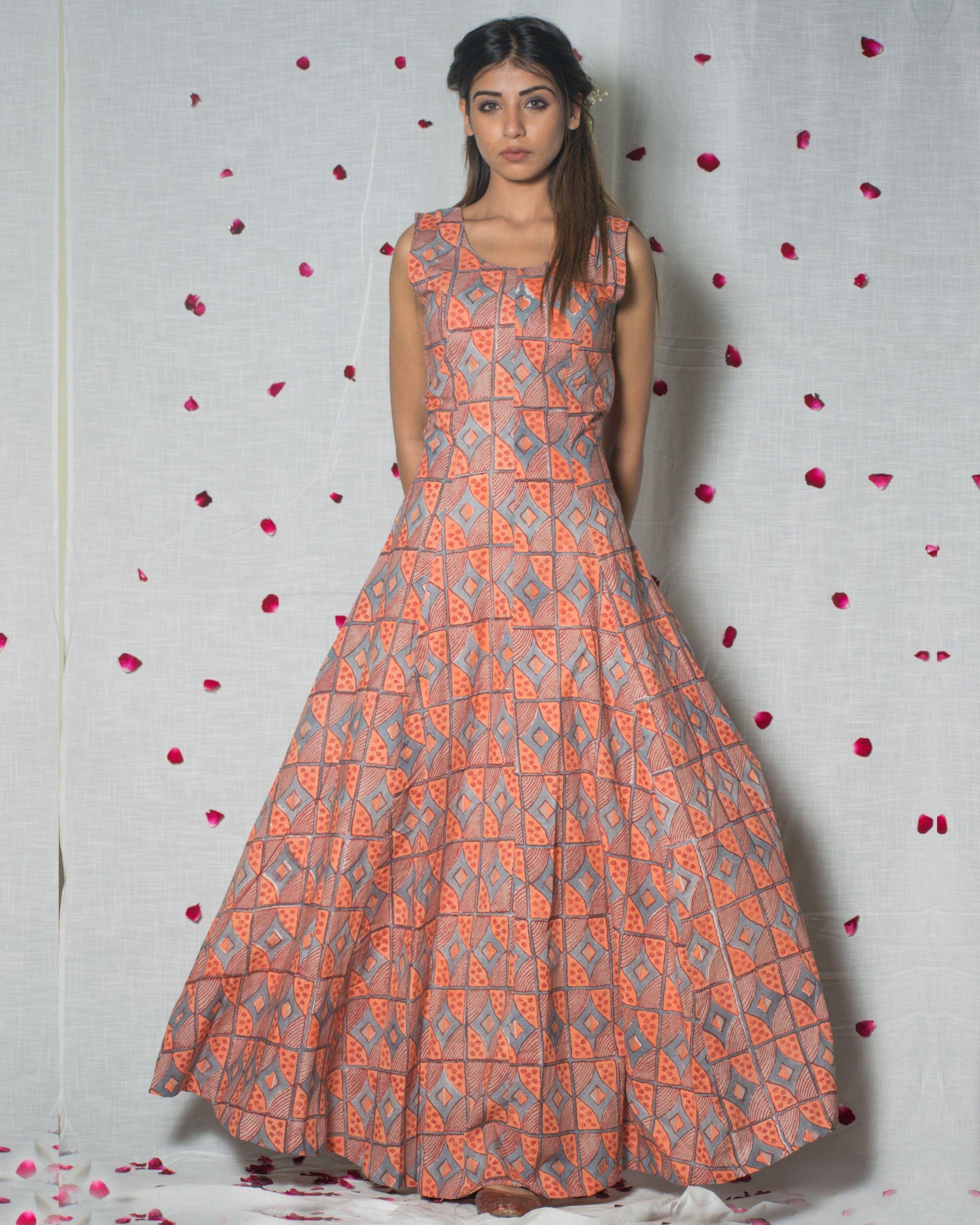 Printed peach maxi dress
