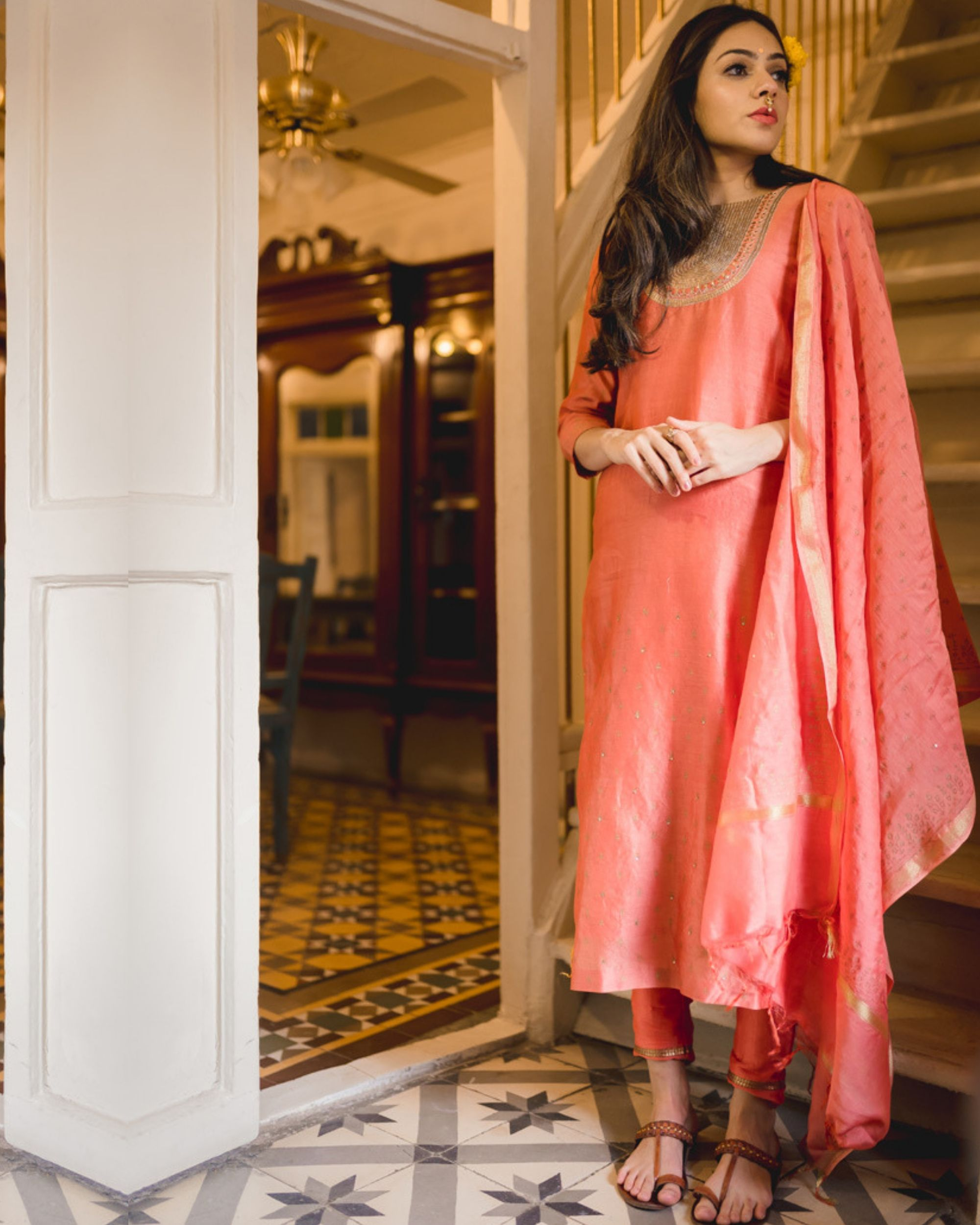 Rust handcrafted chanderi dupatta