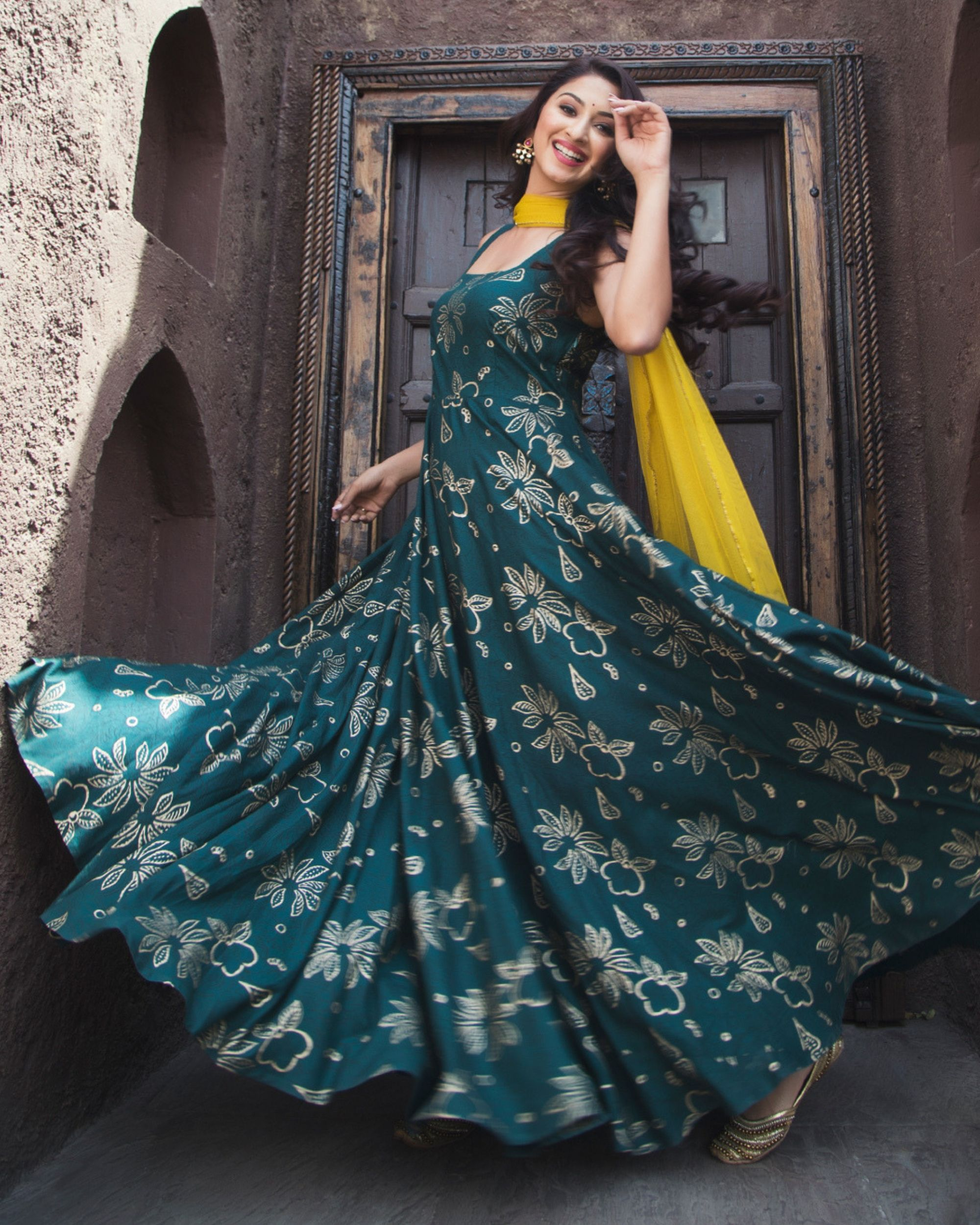 Dark green gold print dress with dupatta - set of two