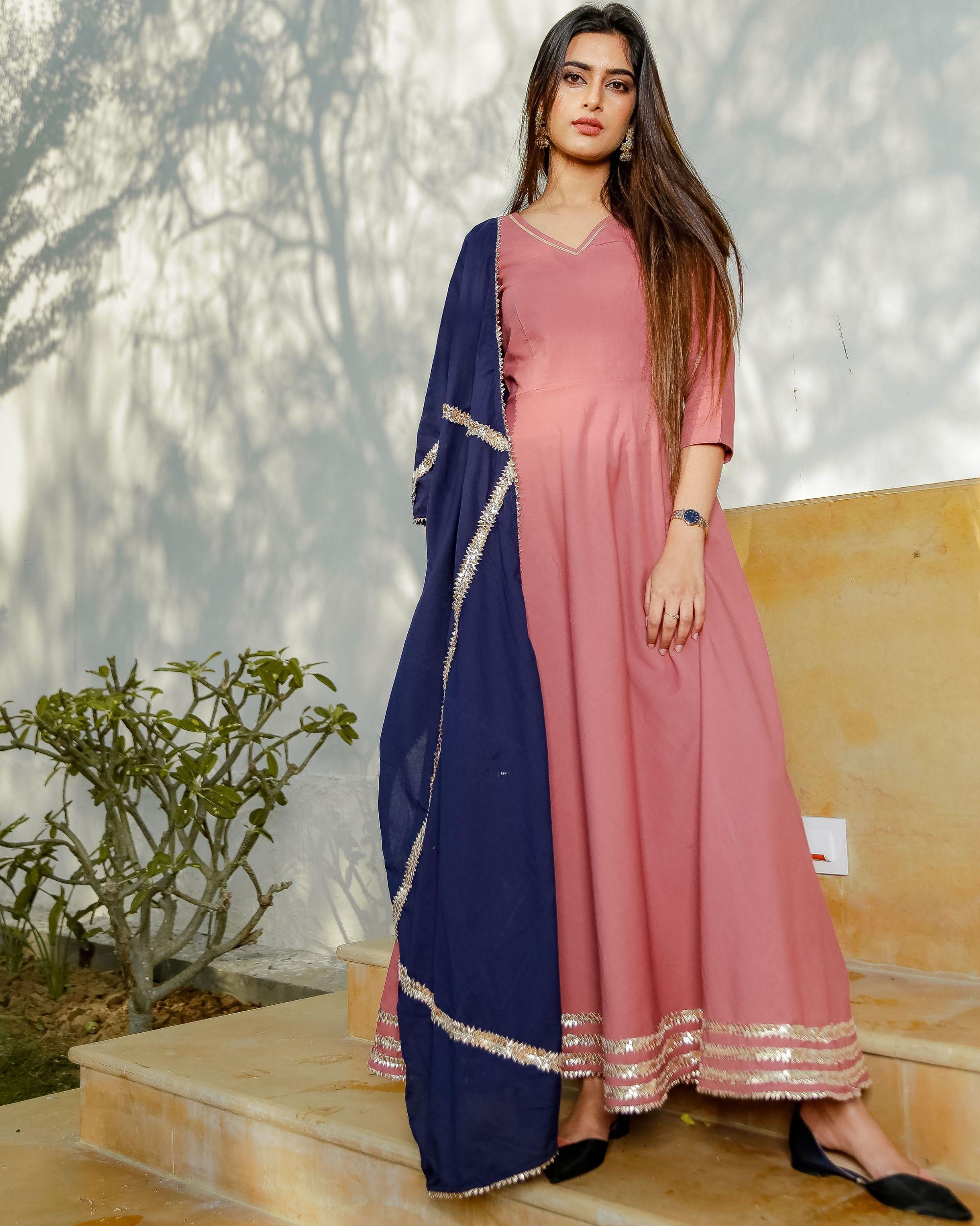 Blush pink gota detailed dress with dupatta - set of two