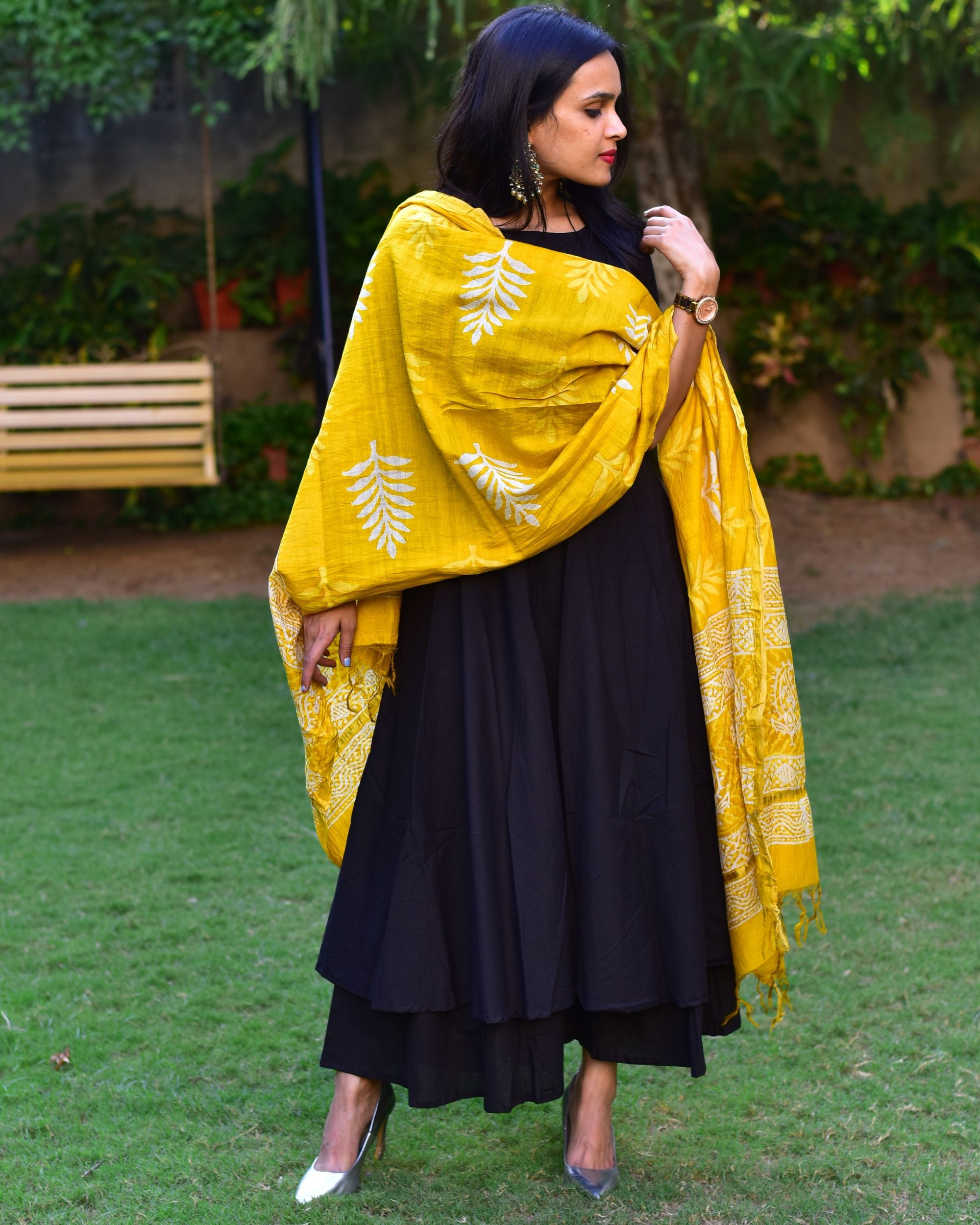 Flared black cotton kurta set with dupatta