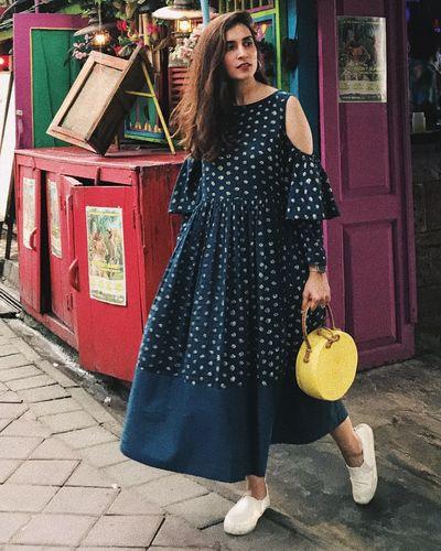 c3c3ec64db8 Blue Block Printed Cold Shoulder Dress