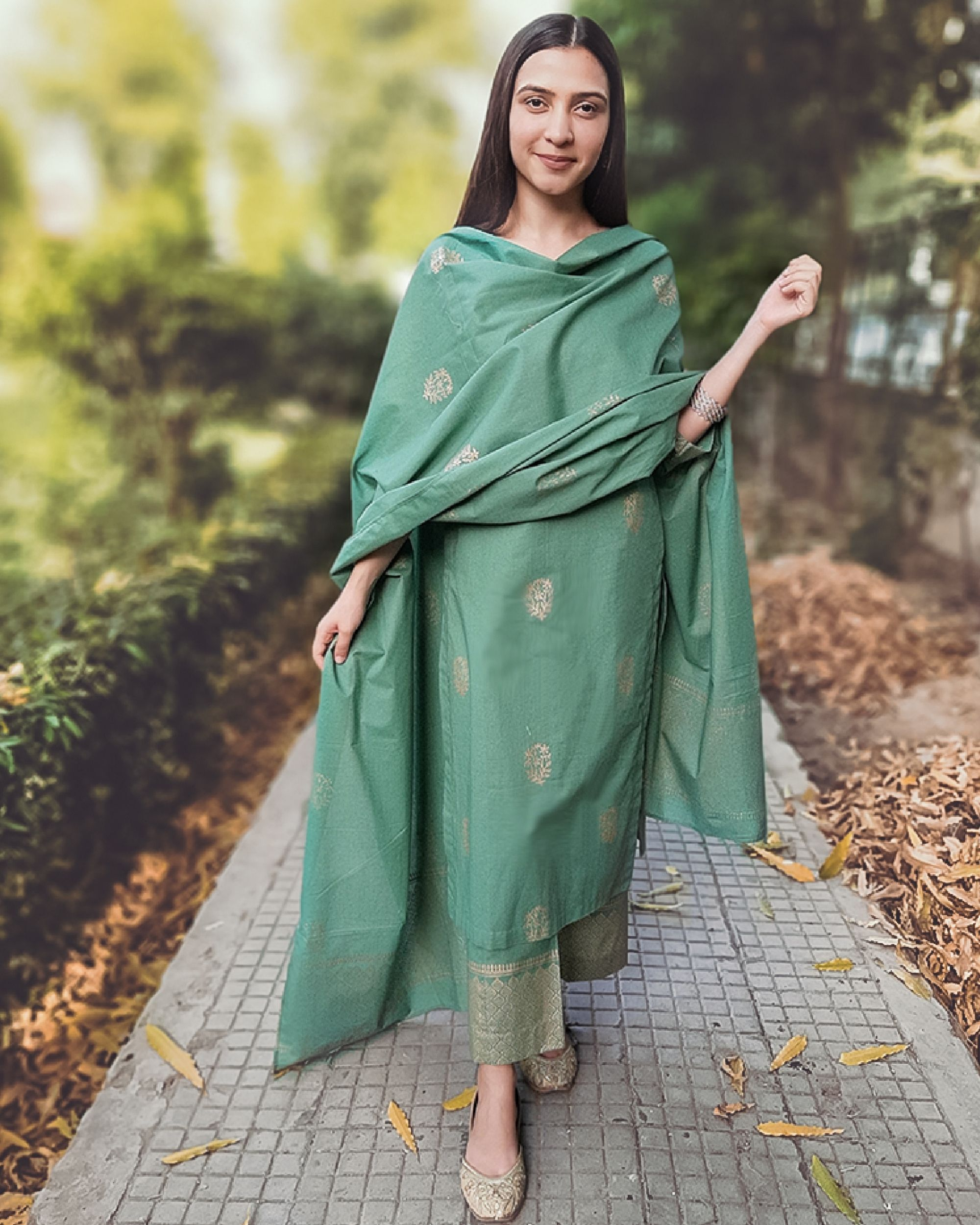 Block printed green kurta set with dupatta - set of three