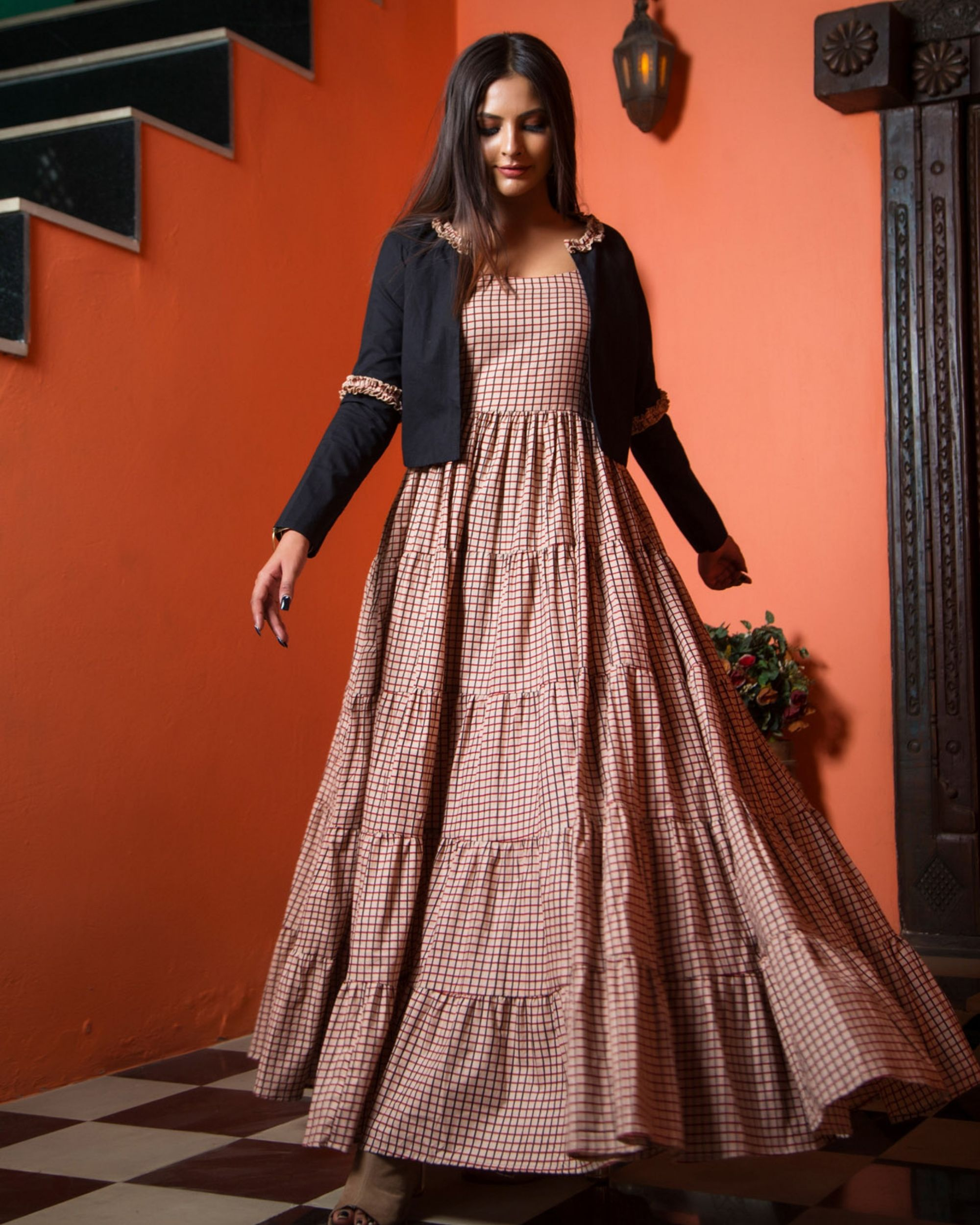 Cotton checks tiered dress with jacket - set of two