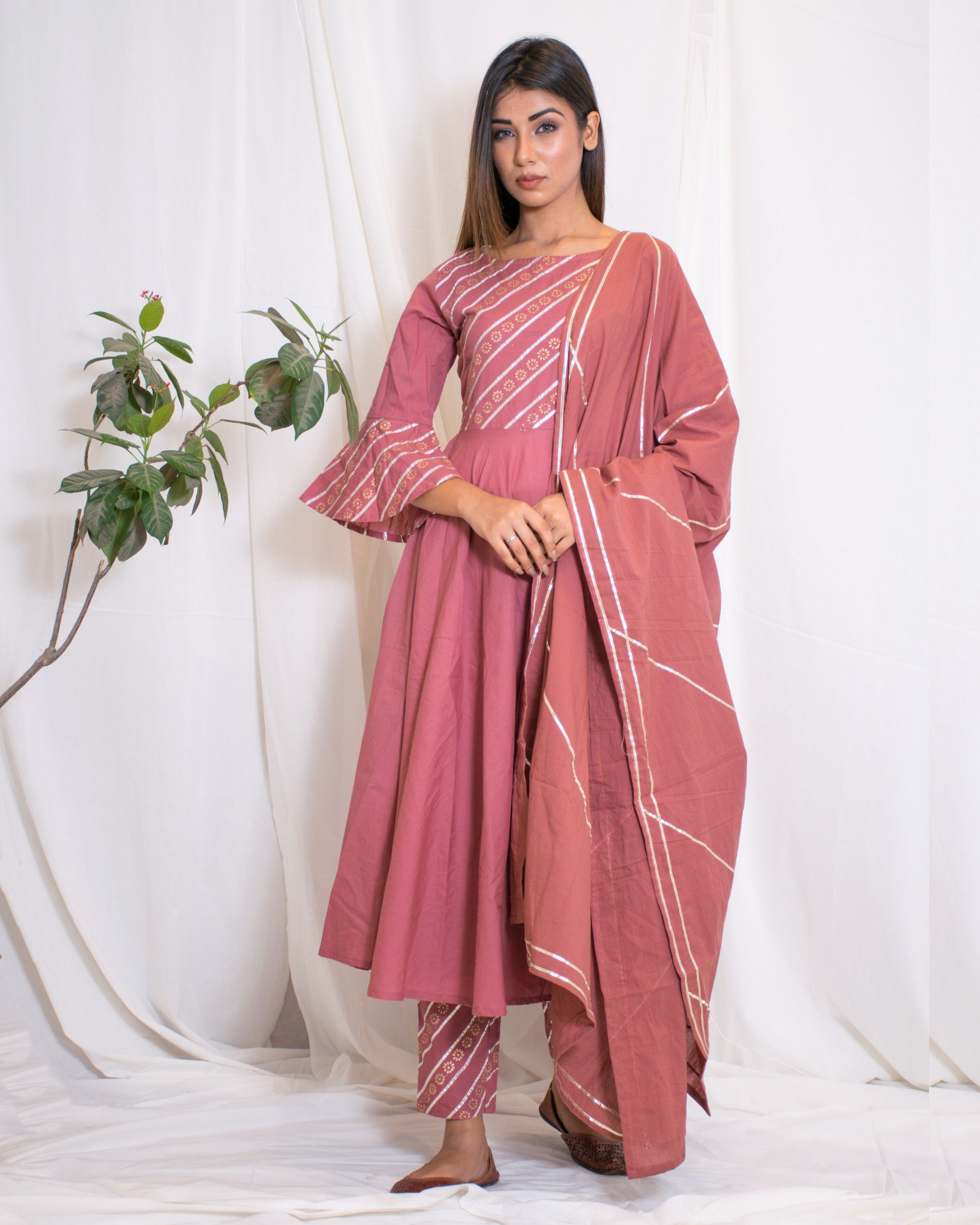 5be1d19994 Rosy pink suit- set of three by Chokhi Bandhani | The Secret Label