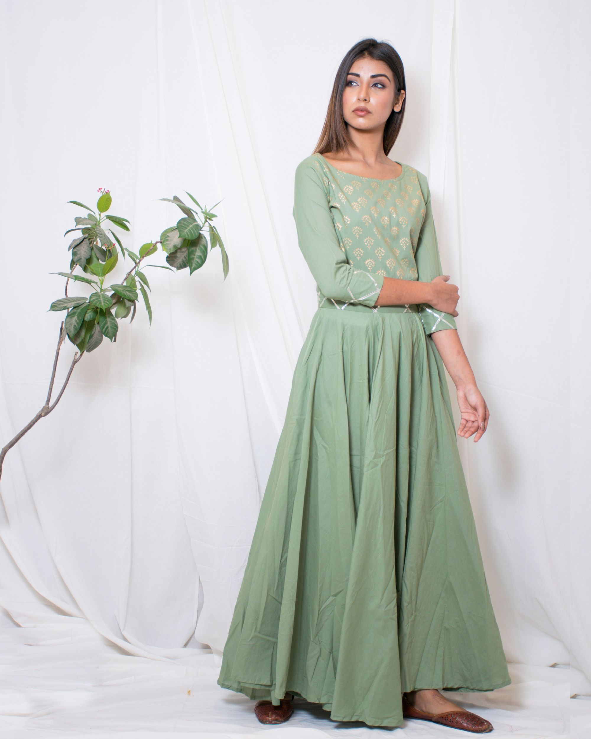 Olive green gown with gota belt