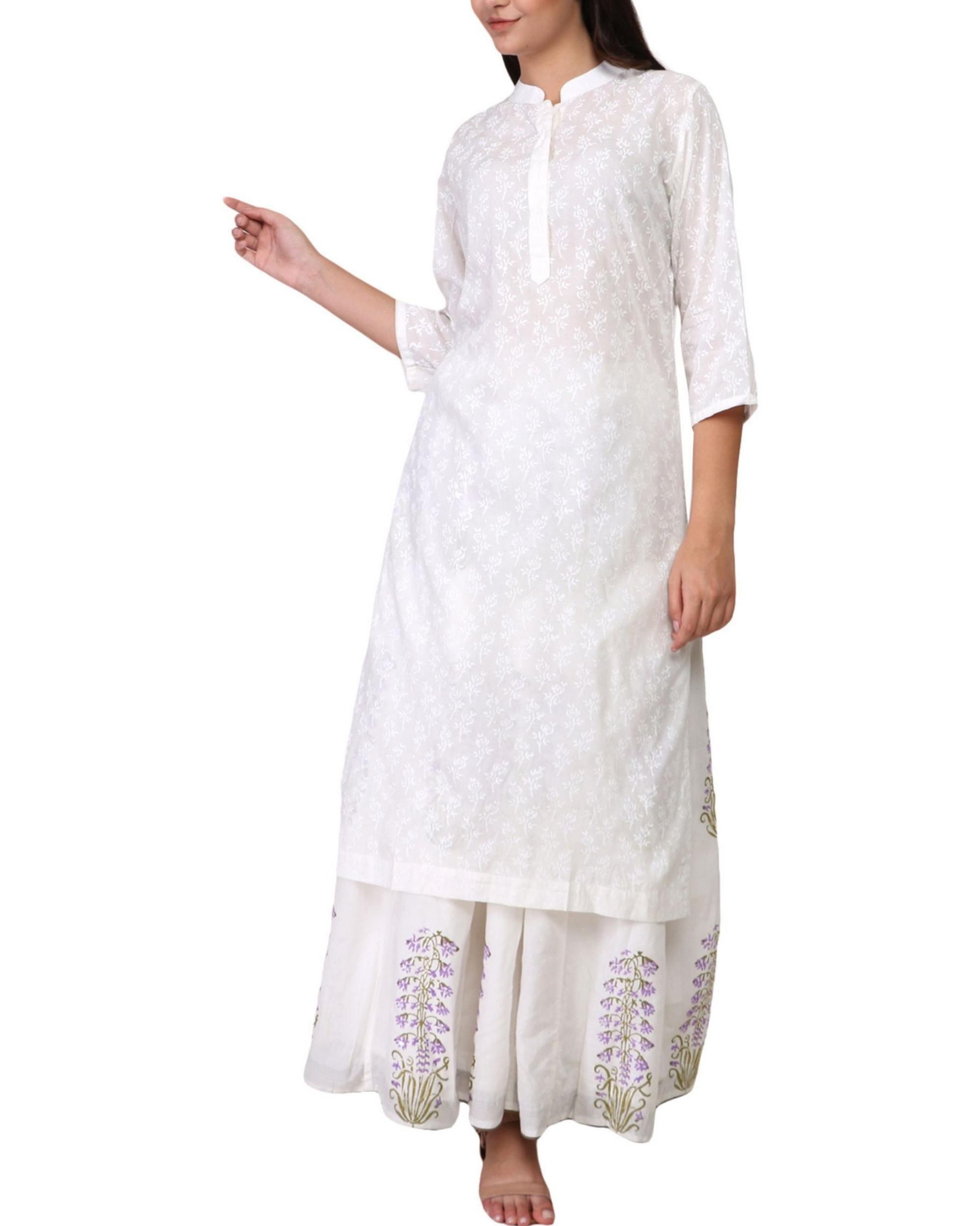 White floral print cotton kurta