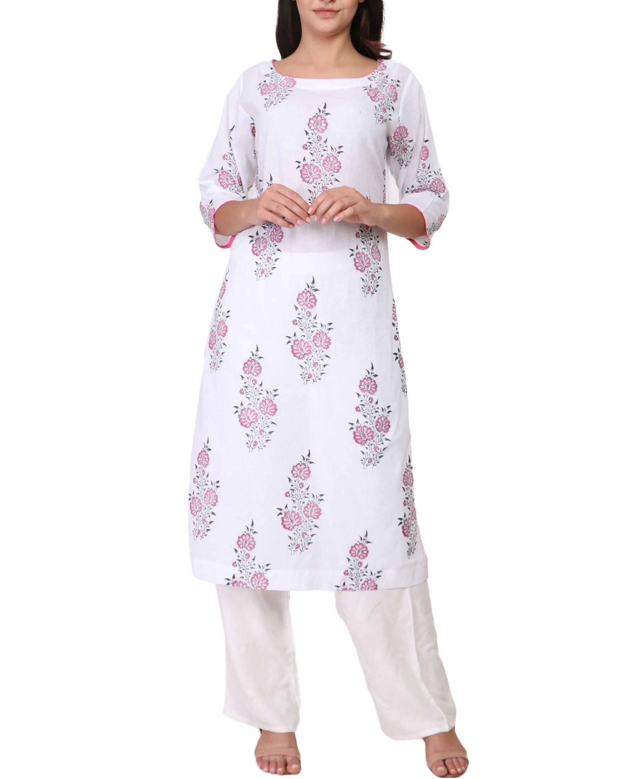 Pink and black floral print white cotton kurta