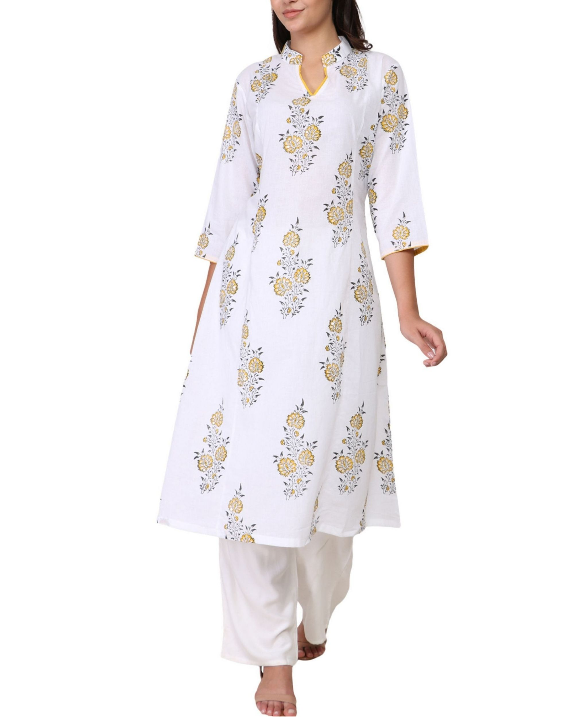 Yellow and black floral print white cotton kurta
