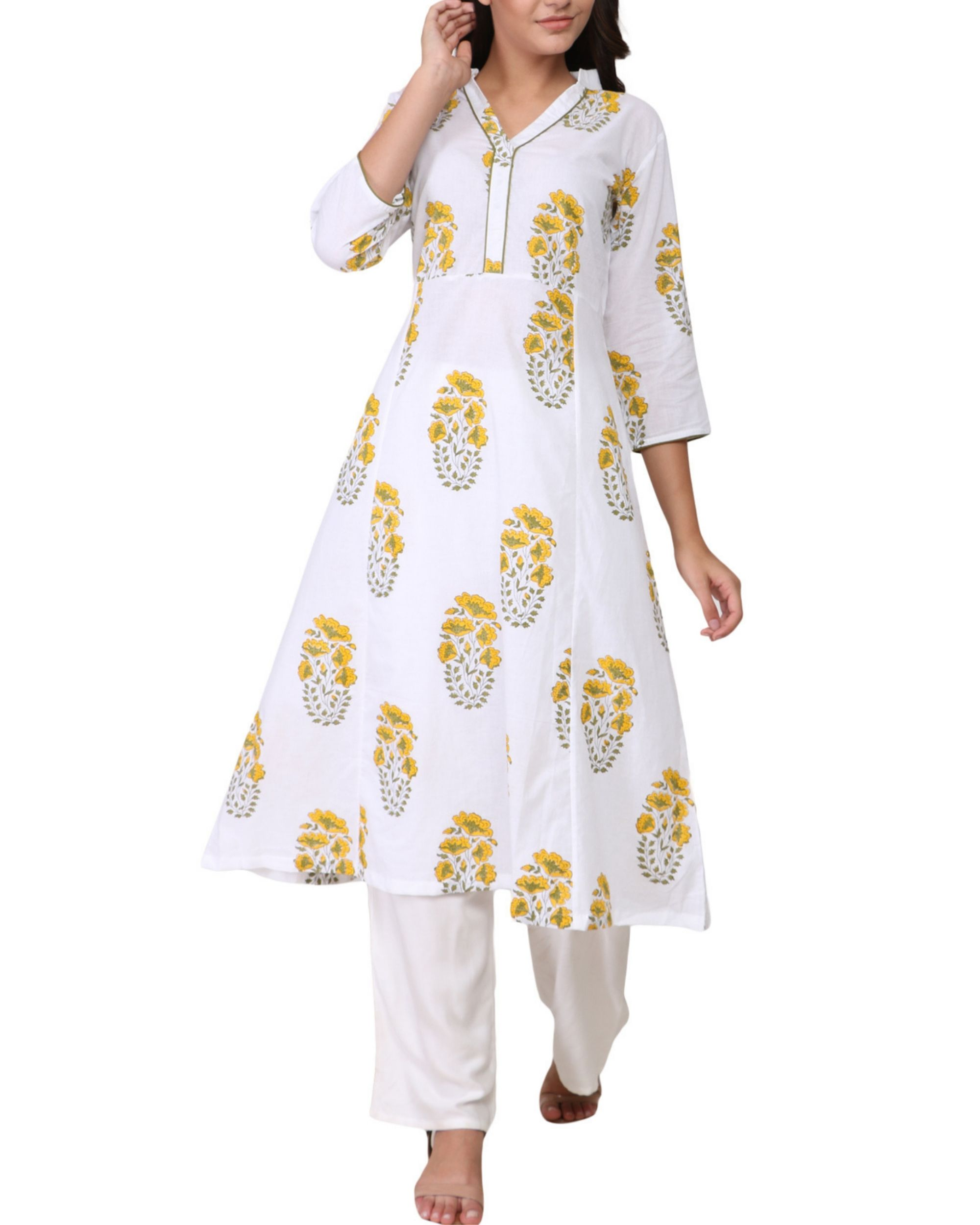 Yellow and green floral print cotton kurta