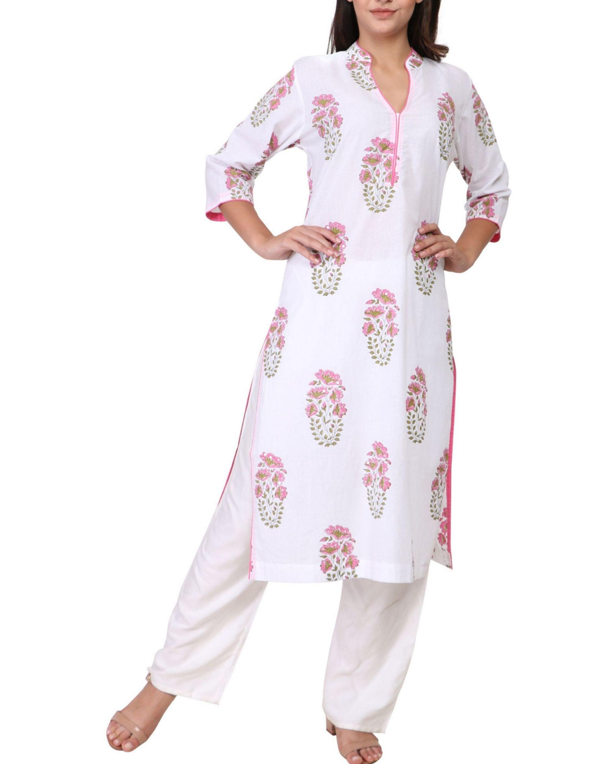 Pink and green floral print white cotton kurta