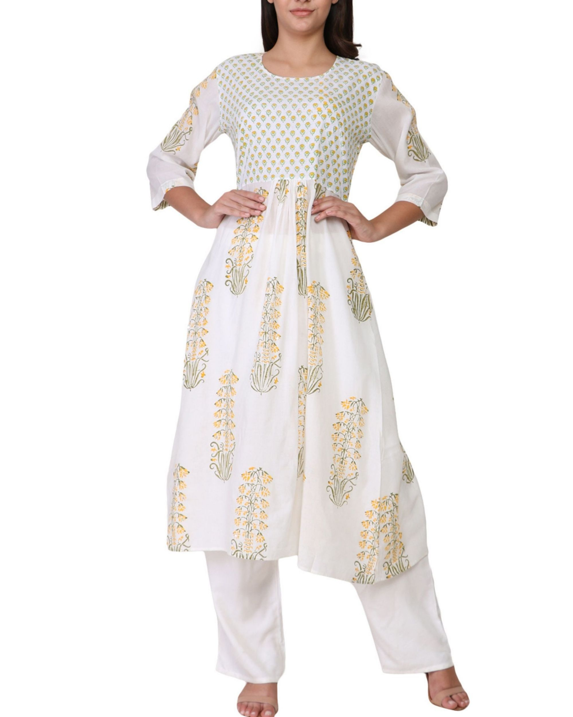 Floral yellow and green print a-line cotton kurta
