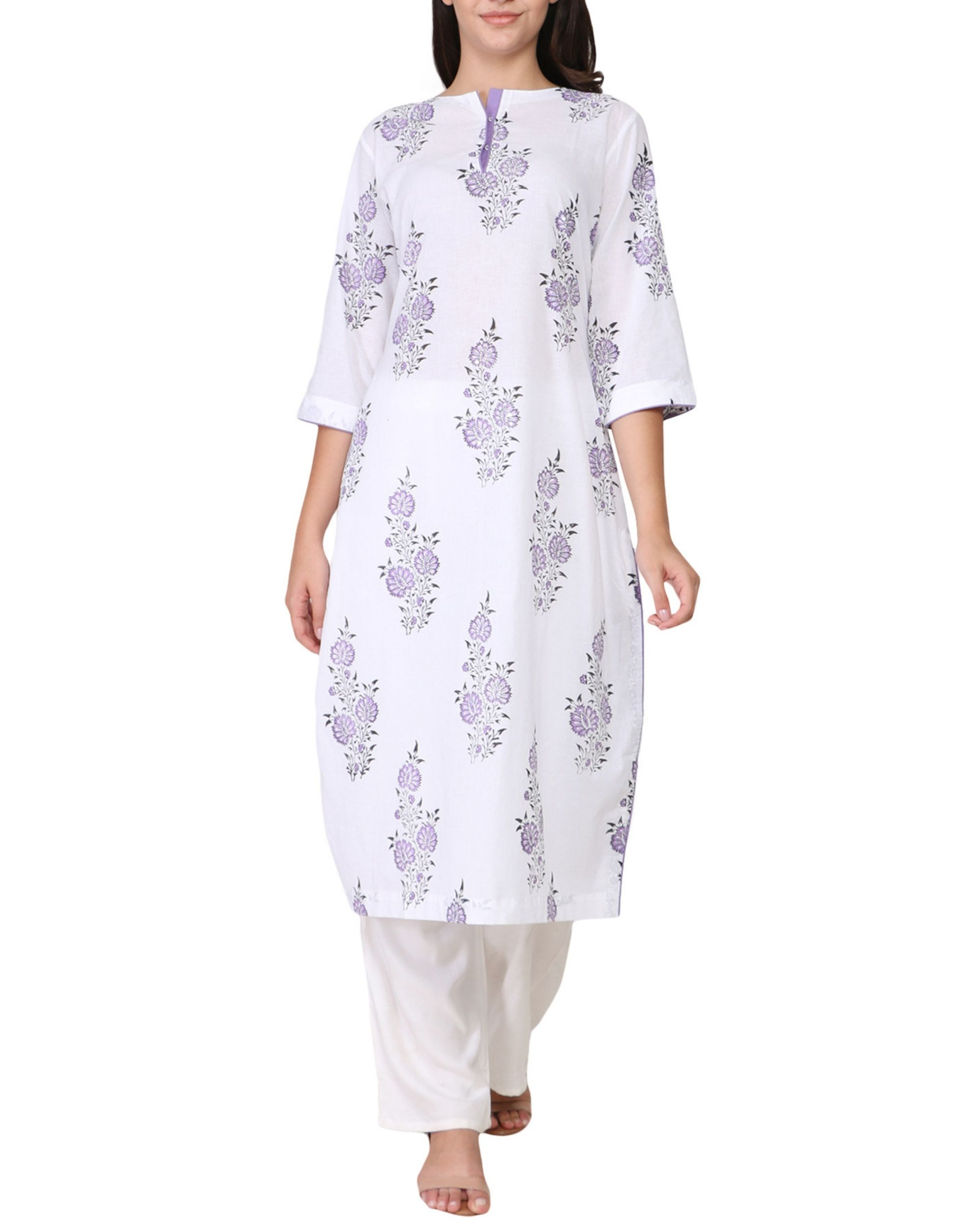 Purple floral print cotton kurta