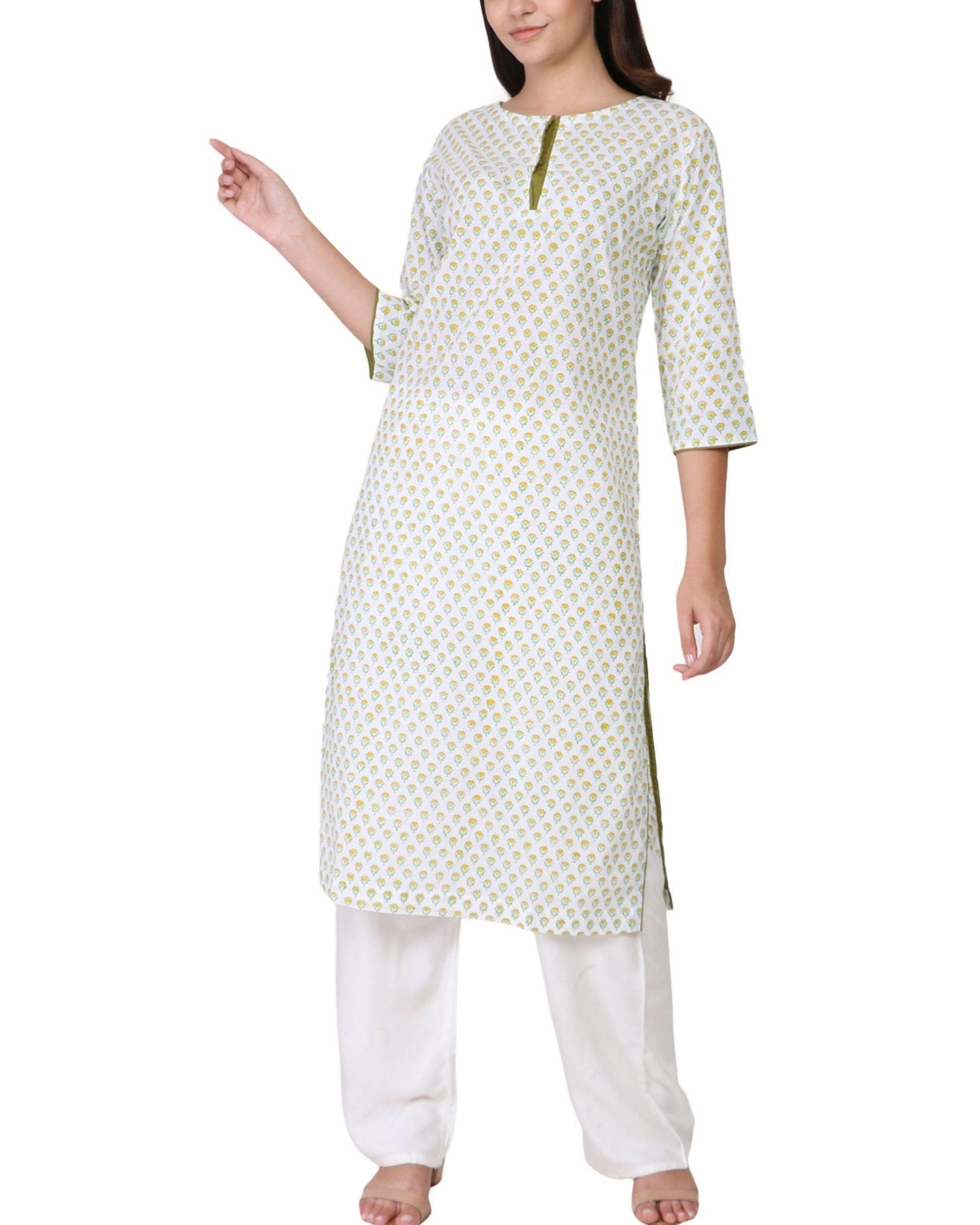 Yellow and green floral print cotton kurta
