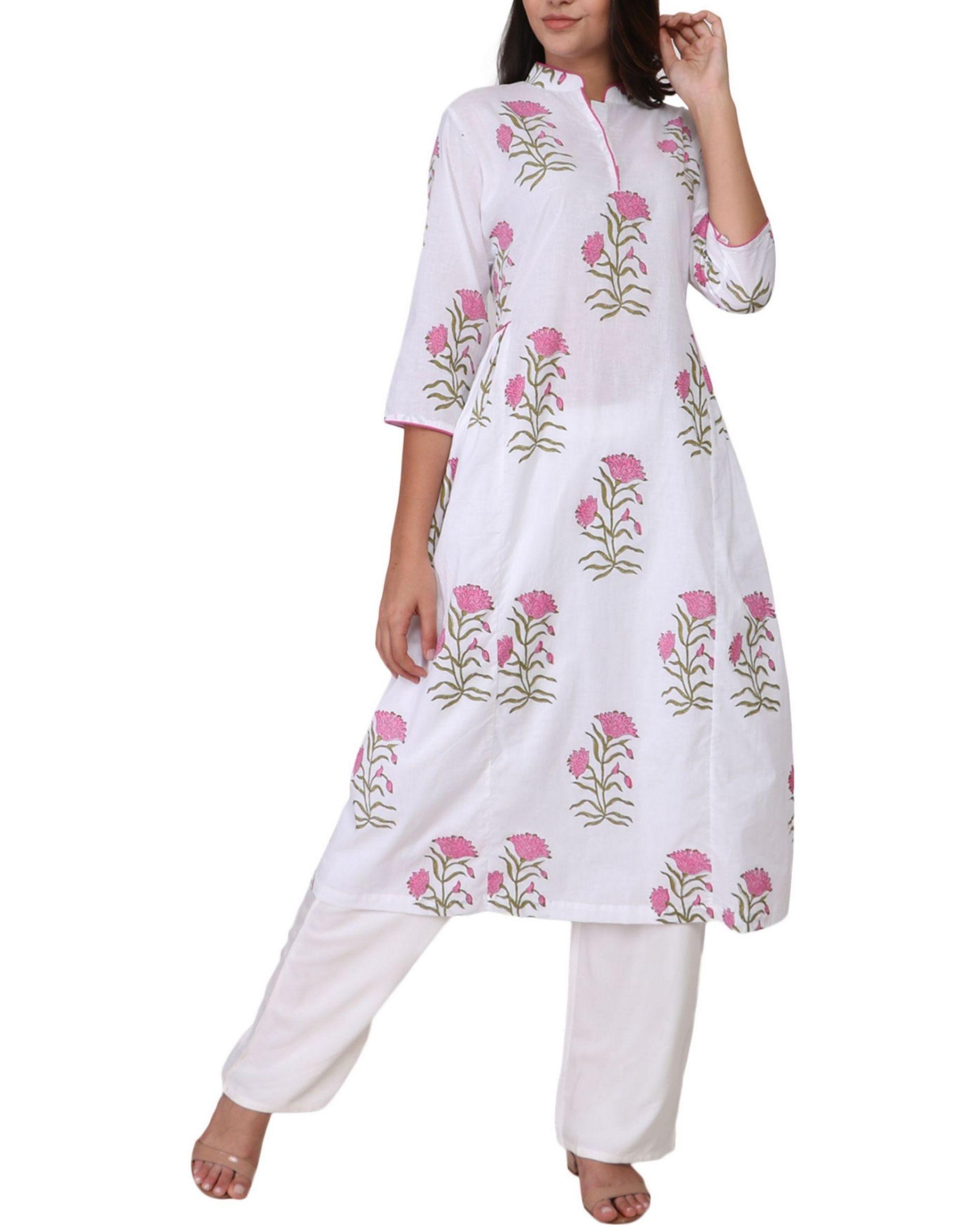 Pink floral print cotton kurta