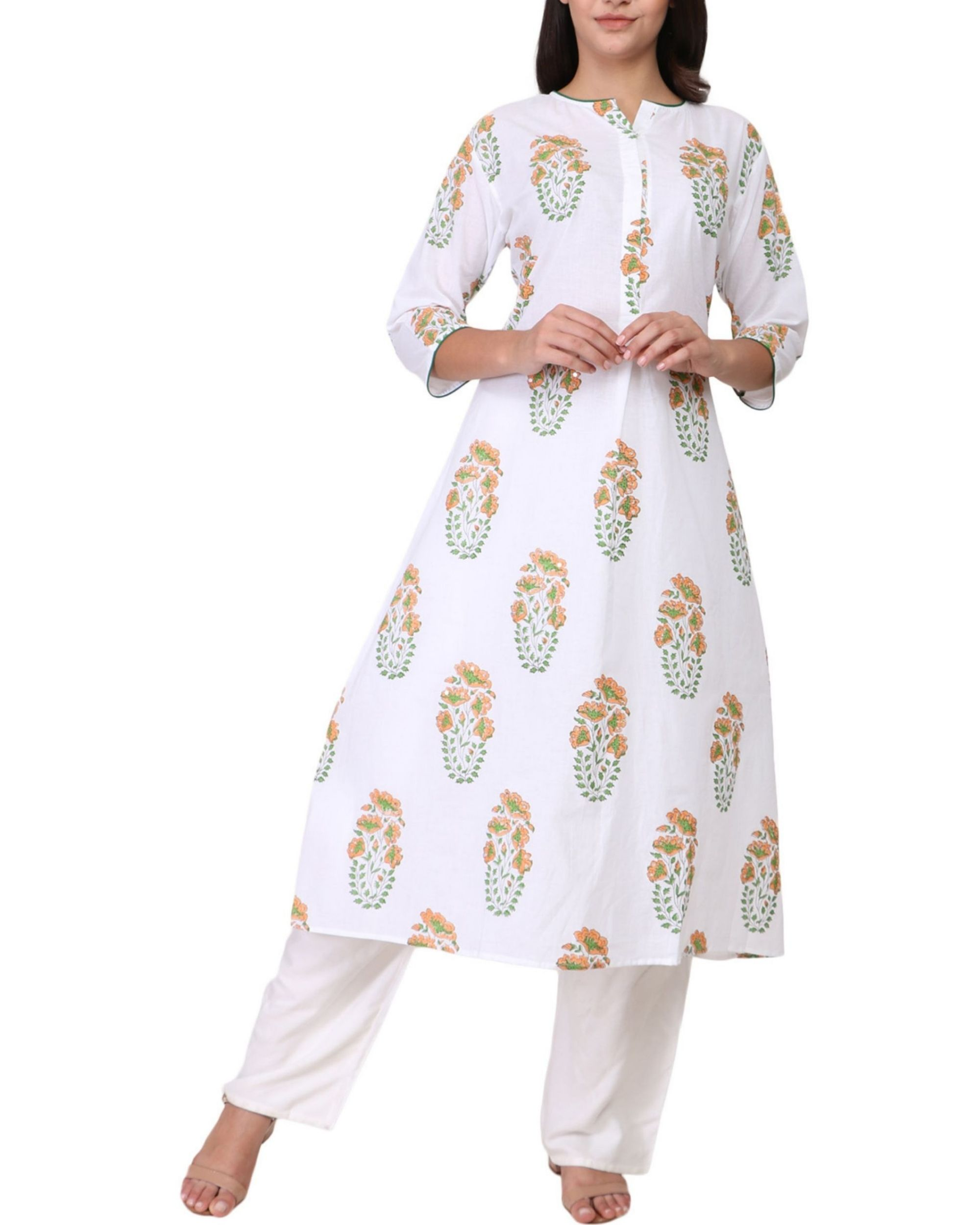 Orange and green floral print cotton kurta