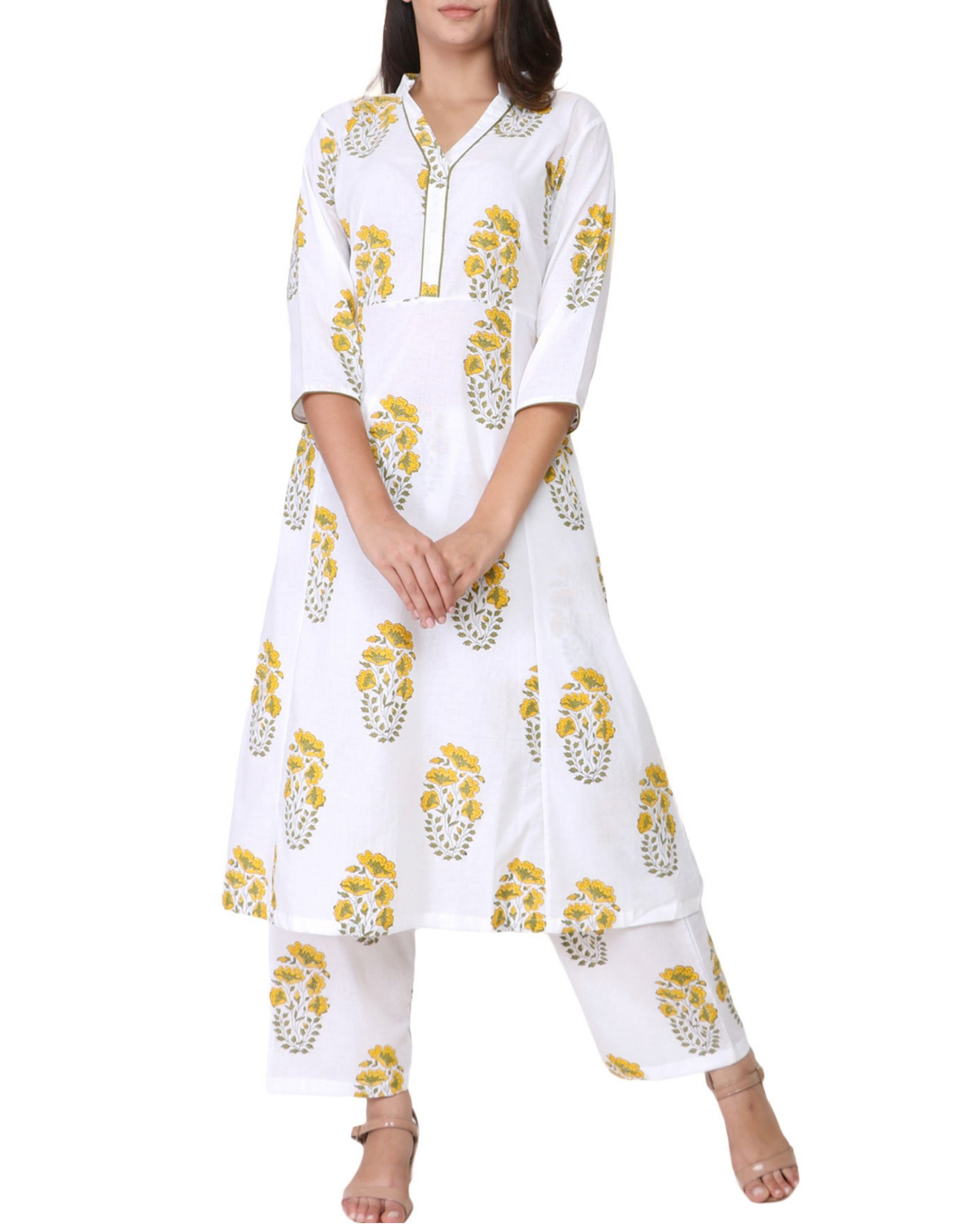 Mustard yellow and green floral print cotton kurta set - set of two
