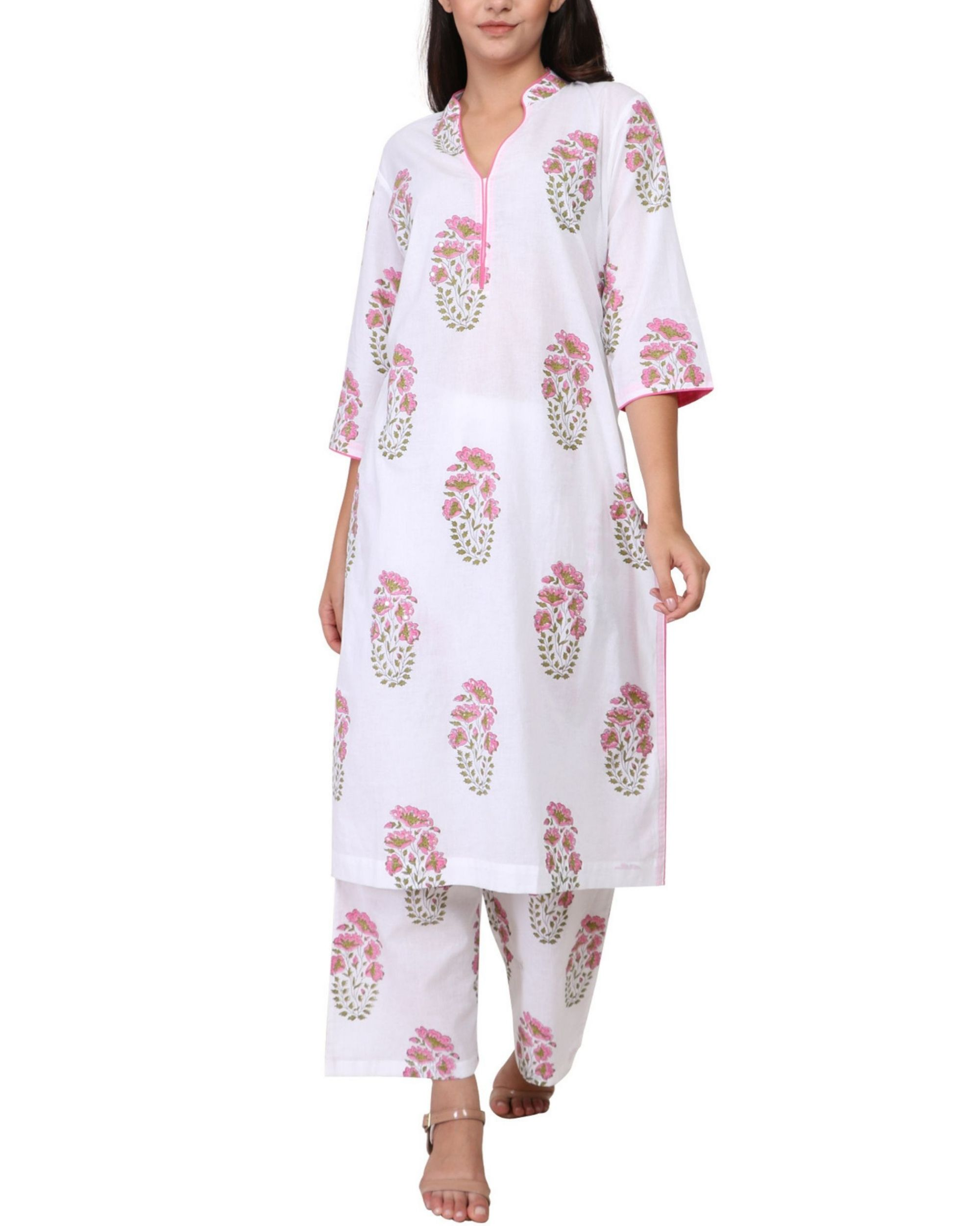 Pink and green floral print cotton kurta set - set of two