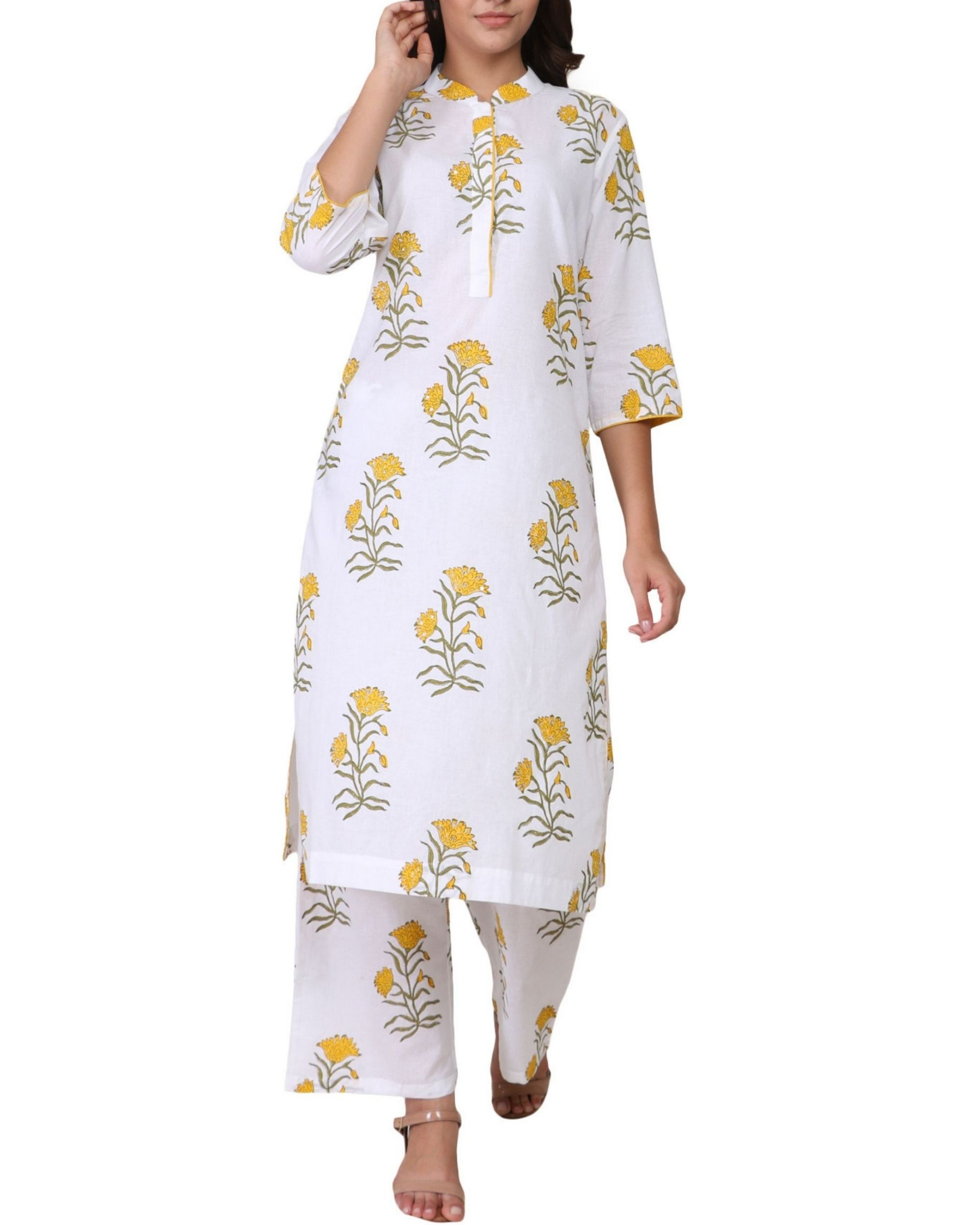 Yellow and green floral print cotton kurta set - set of two