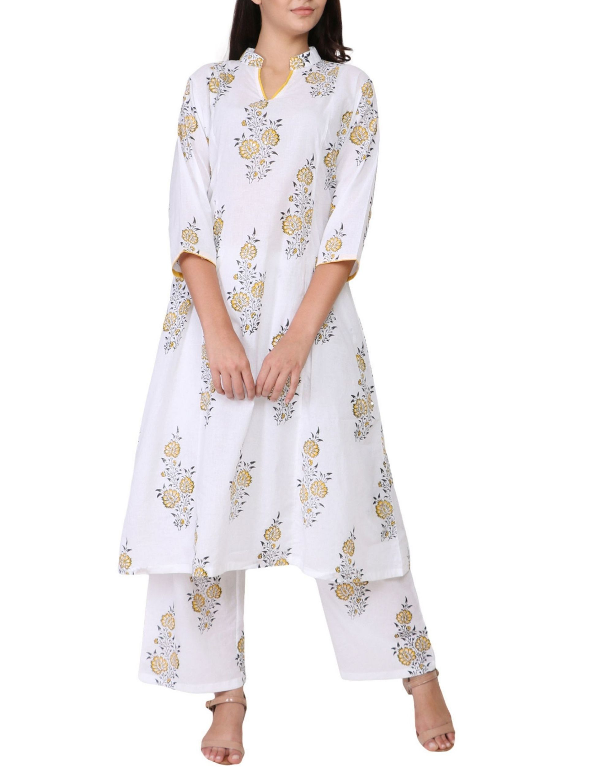 Yellow and black floral print cotton kurta set - set of two