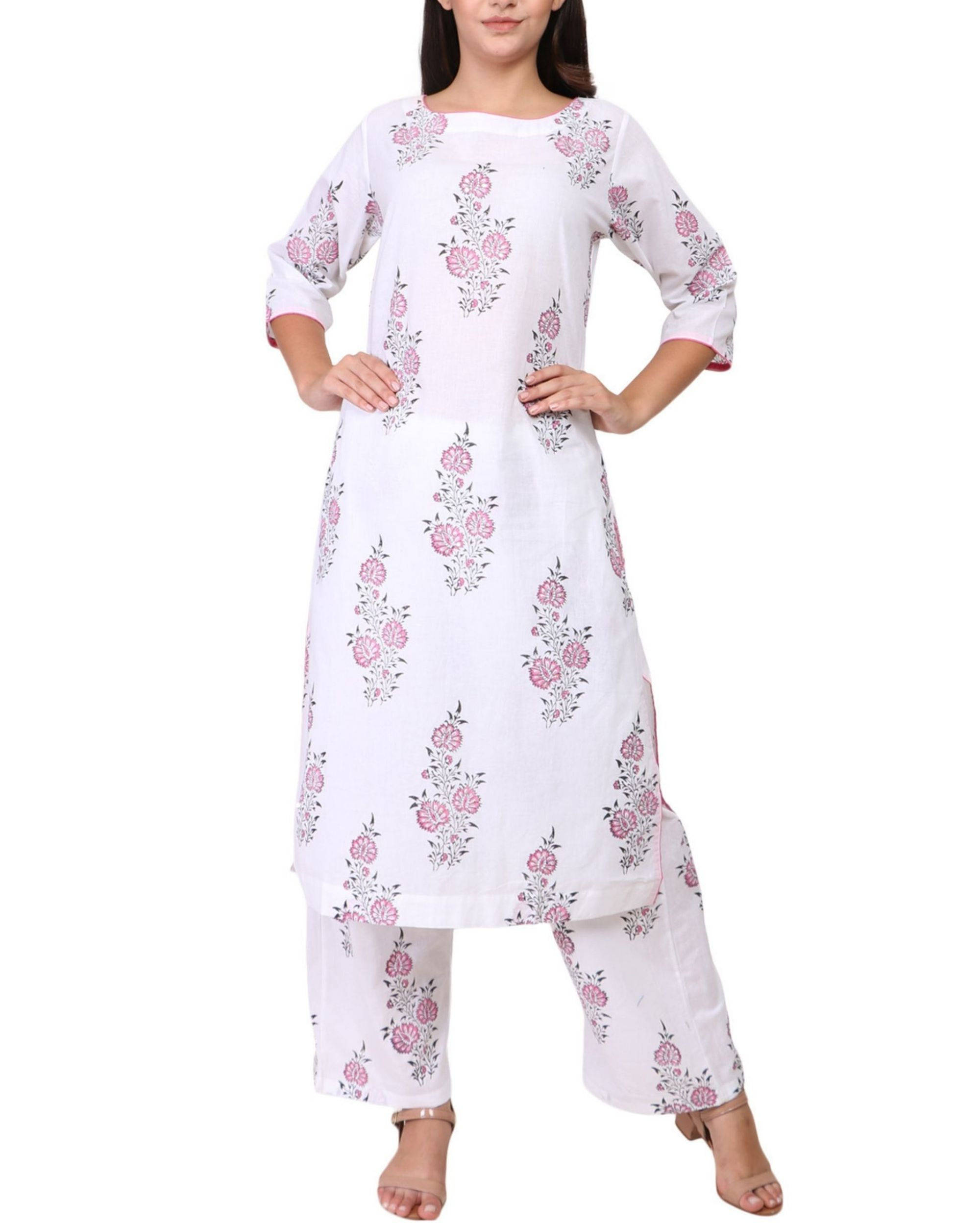 Pink and black floral print cotton kurta set - set of two