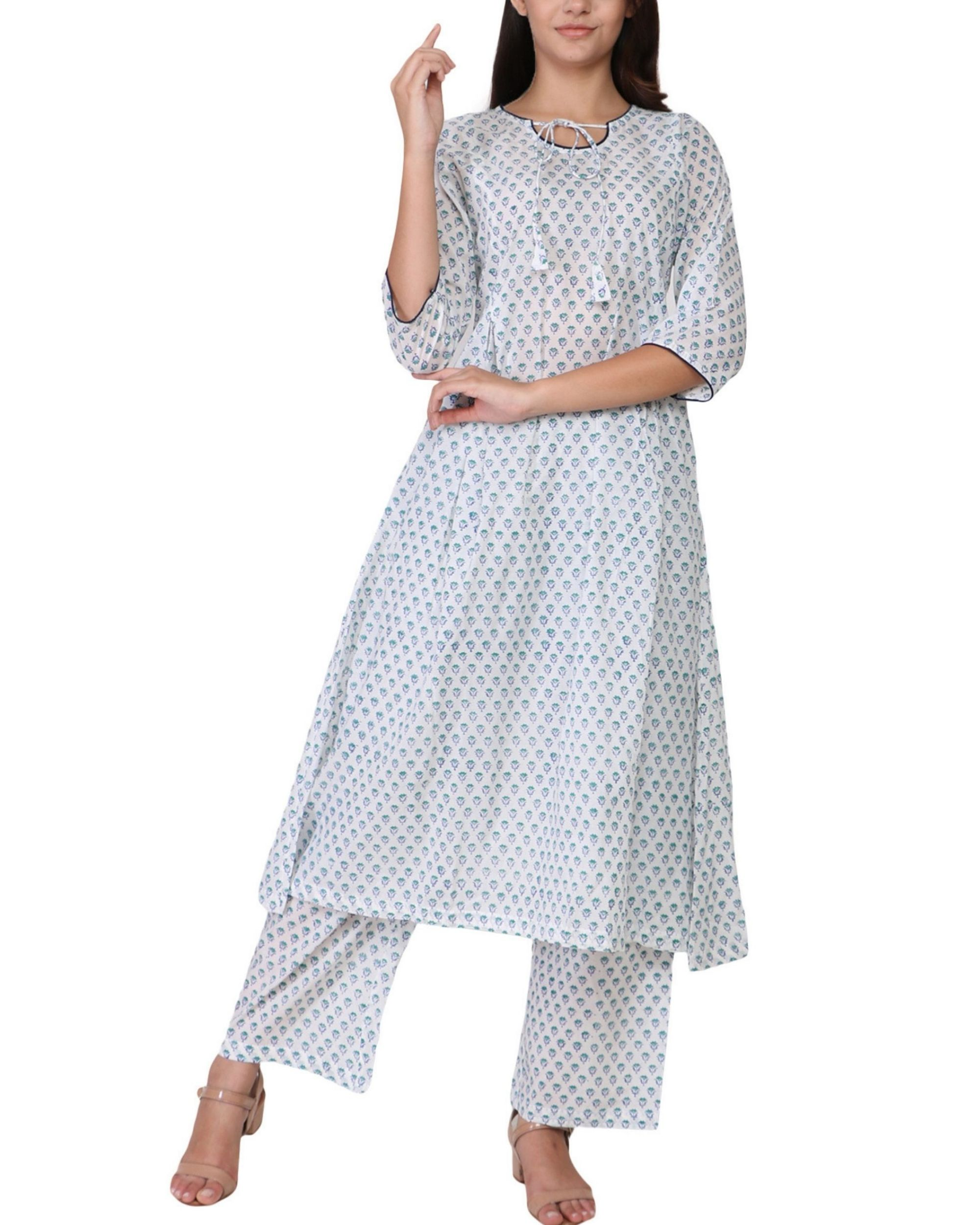 Blue floral print cotton a-line kurta set - set of two