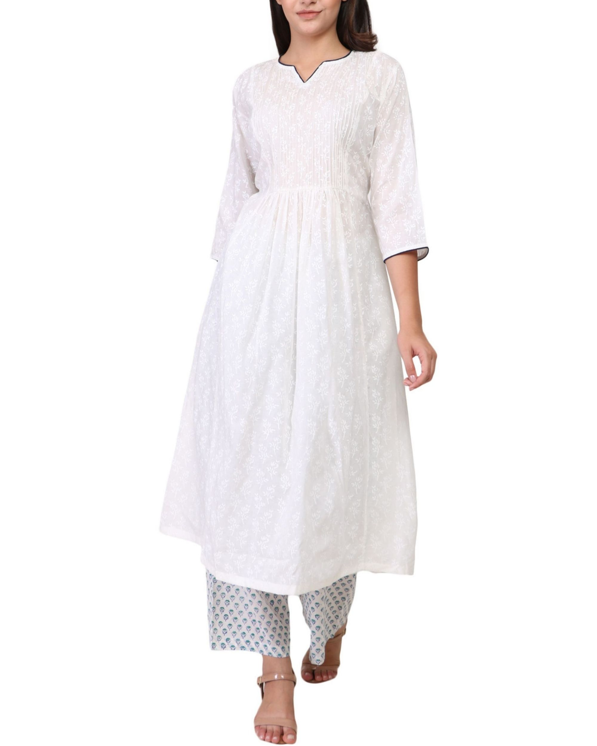 White and blue contrast floral print cotton a-line kurta set - set of two