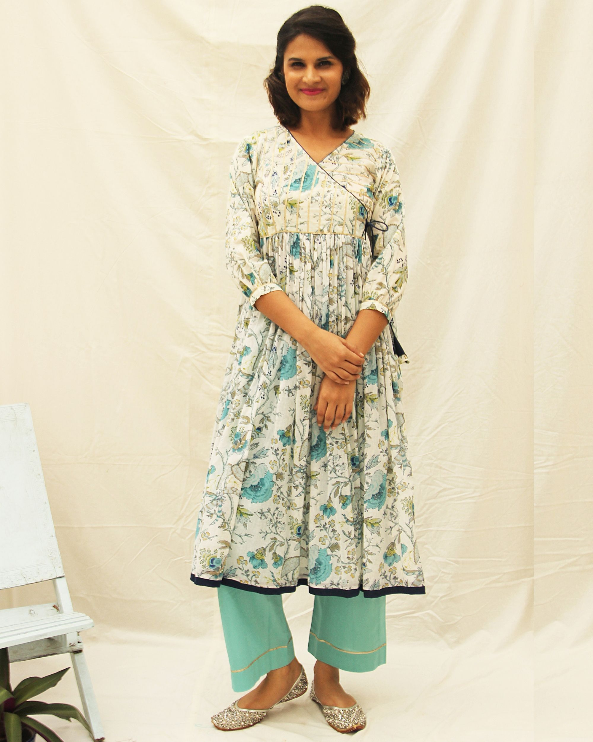 Angrakha kurta and straight pants with gota details- set of two