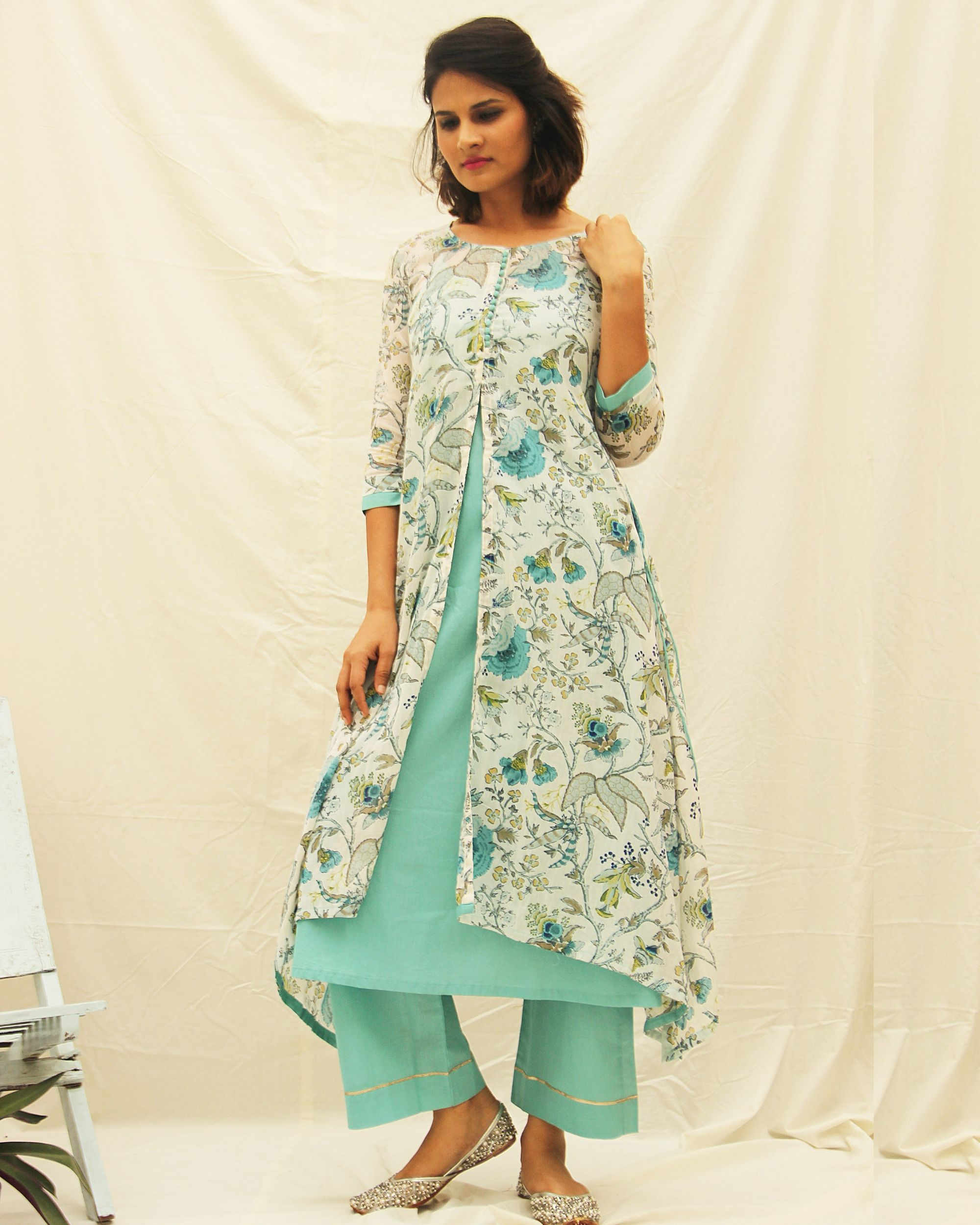 Blue floral print suit-set- set of two