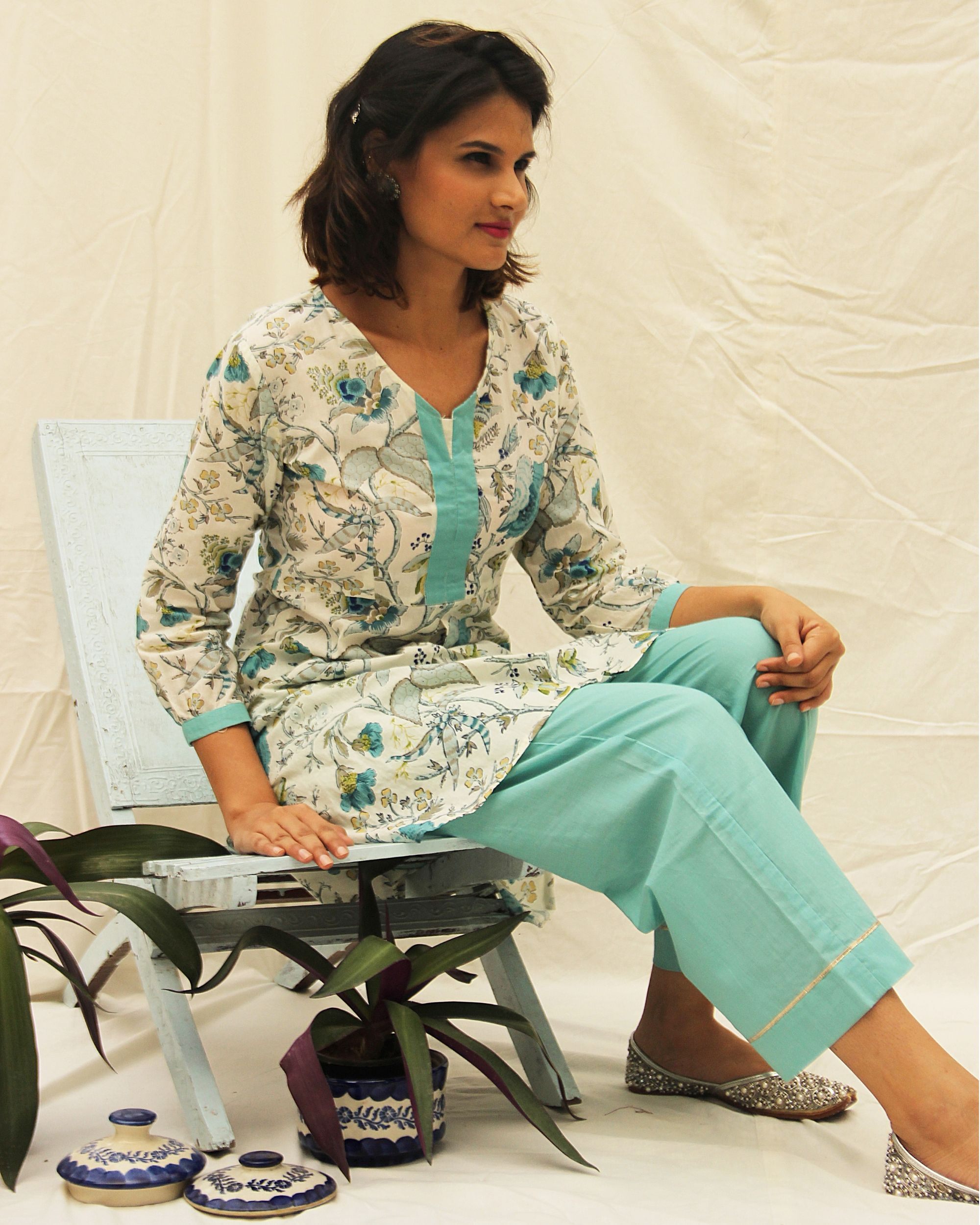 Beautiful blue kurta with high low hemline