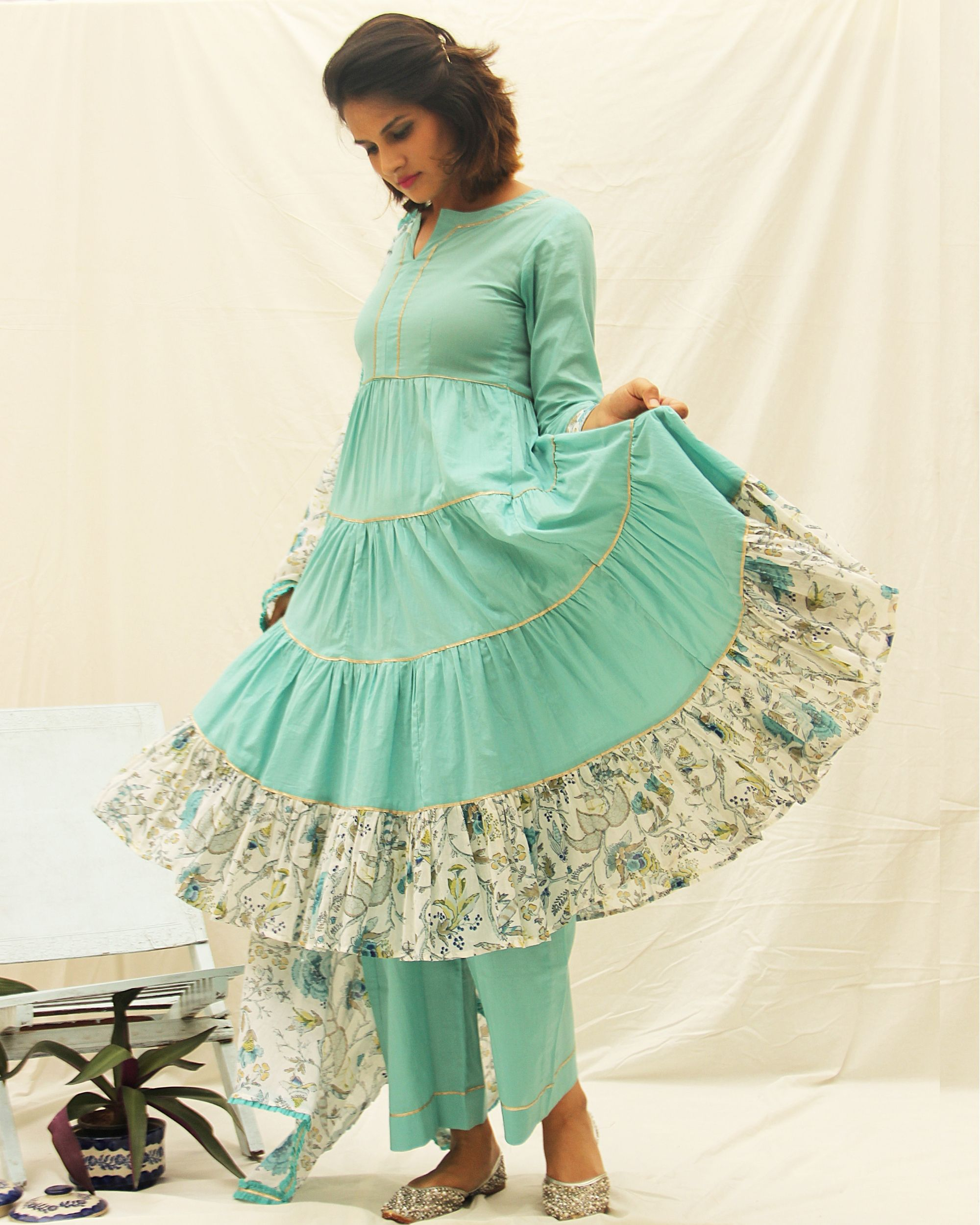 Bluefloral printed frill kurta with gota details and plain pants- set of two