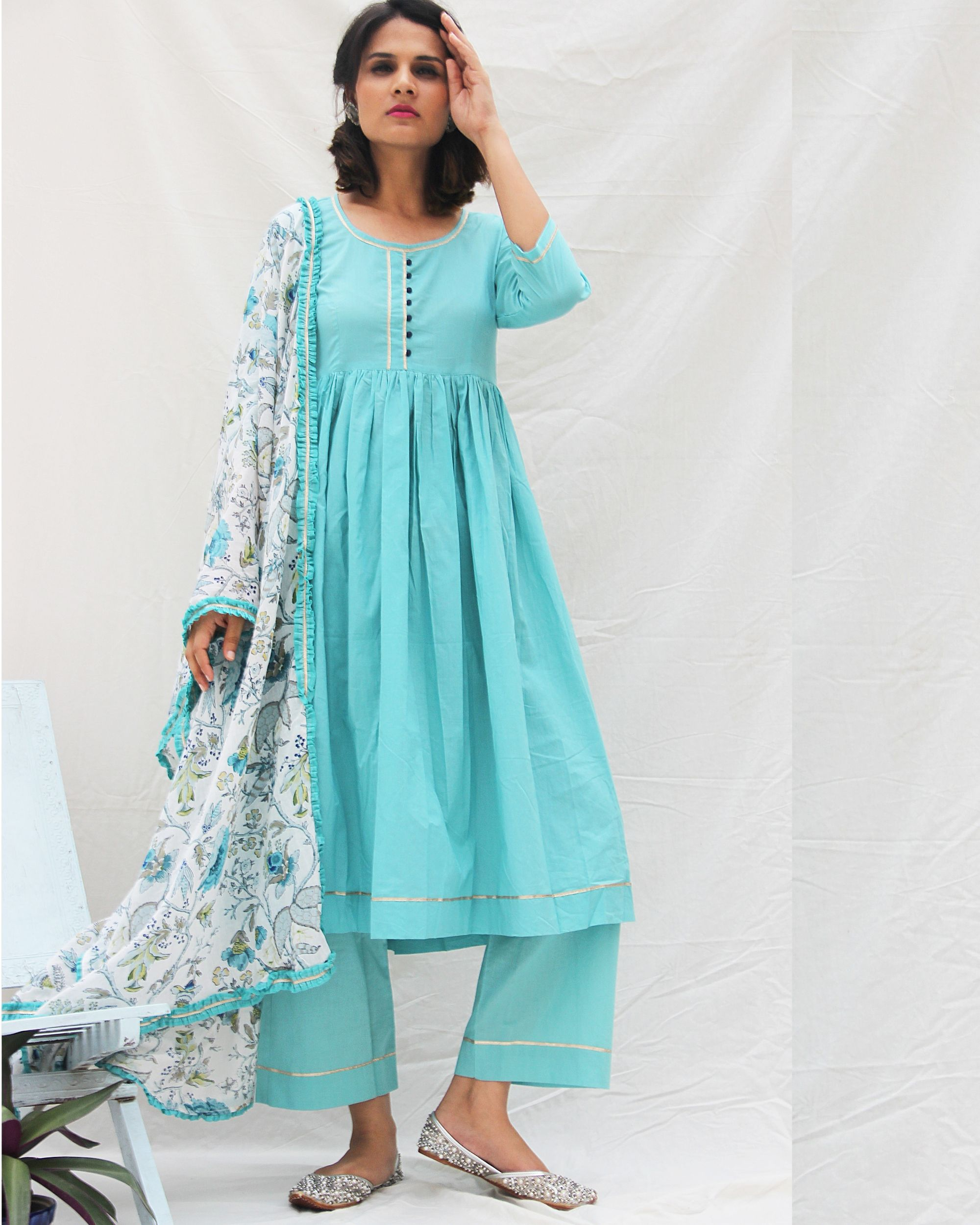 Flared blue kurta with straight pants and printed dupatta- set of three