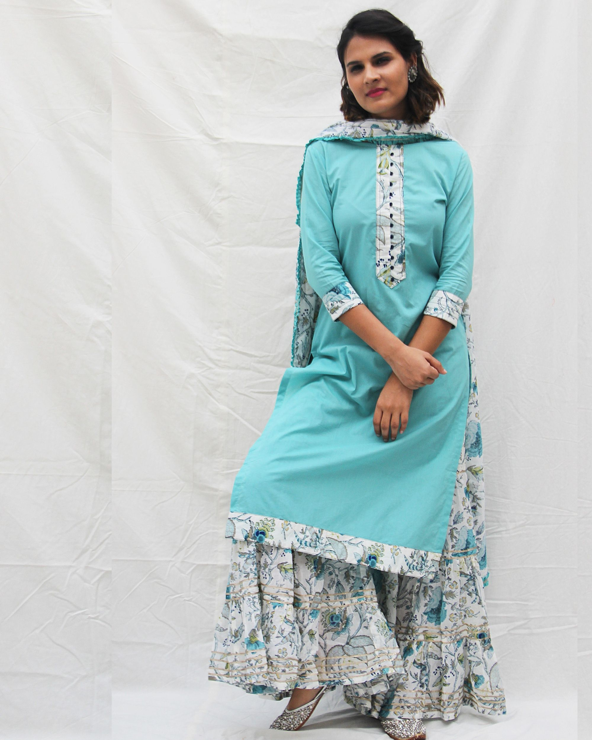 Plain long kurta with potali button in front and a gharara with dupatta -set of three