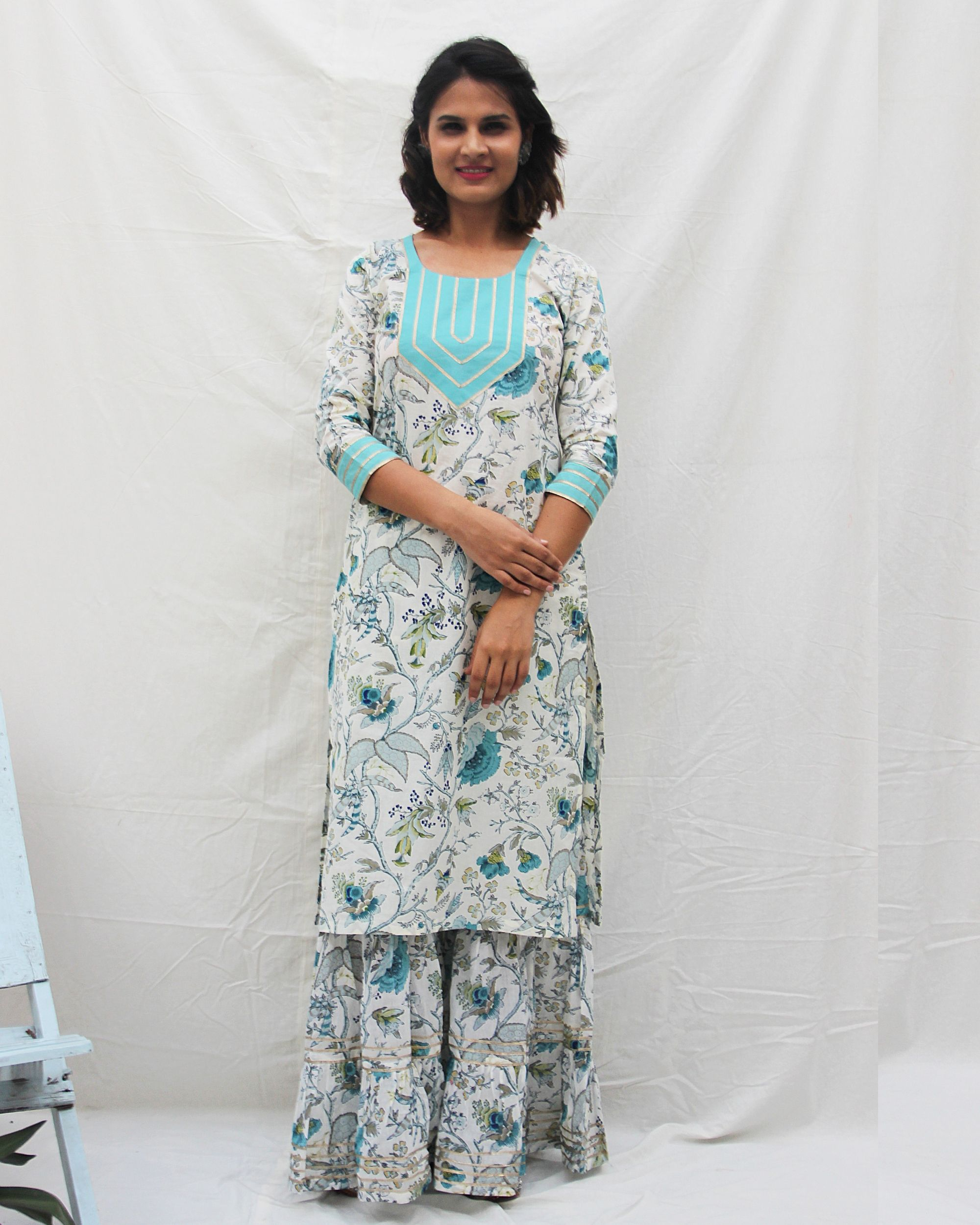 Printed kurta with gota work and gharara- set of two