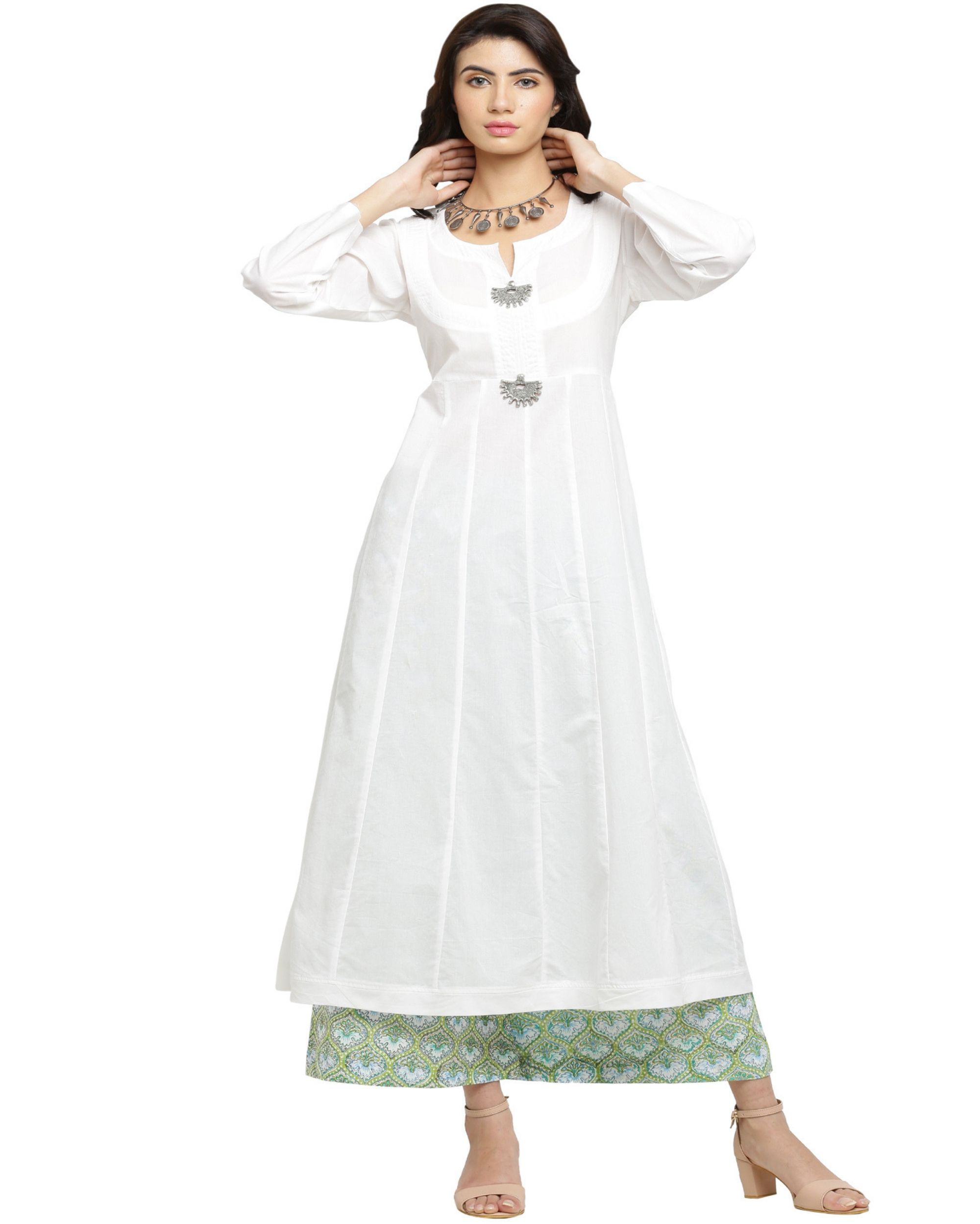 7c5e48c7d7 White A-line kurta with green blue printed palazzo- Set of two by Blue  Lotus | The Secret Label