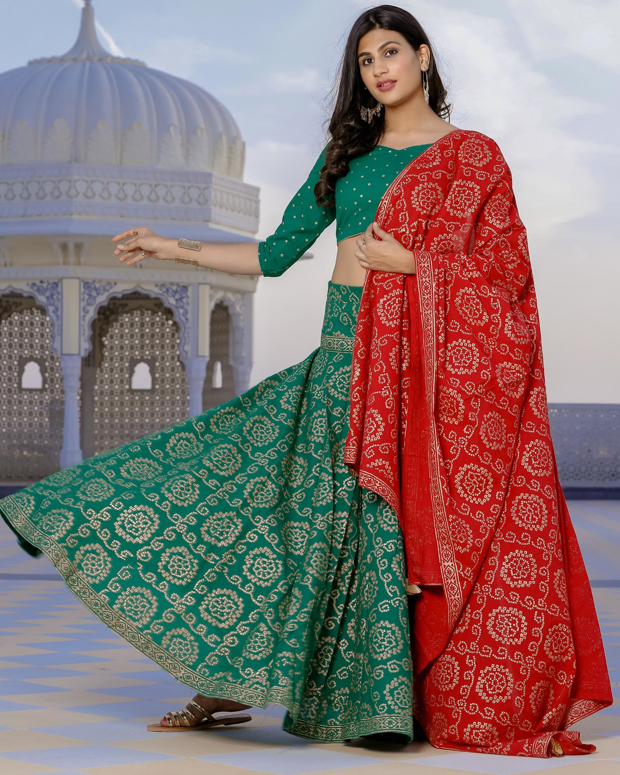Red and green bandhani lehenga set- set of three