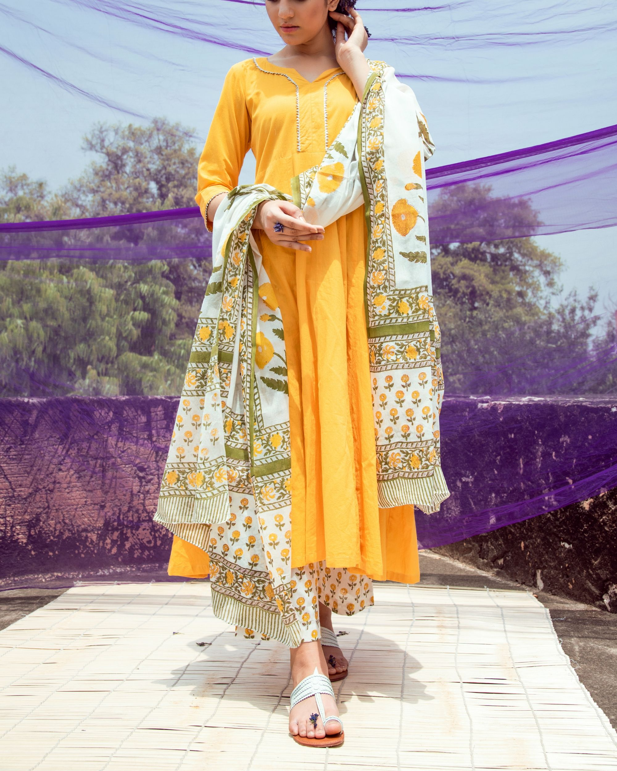 Yellow and white suit set - set of three