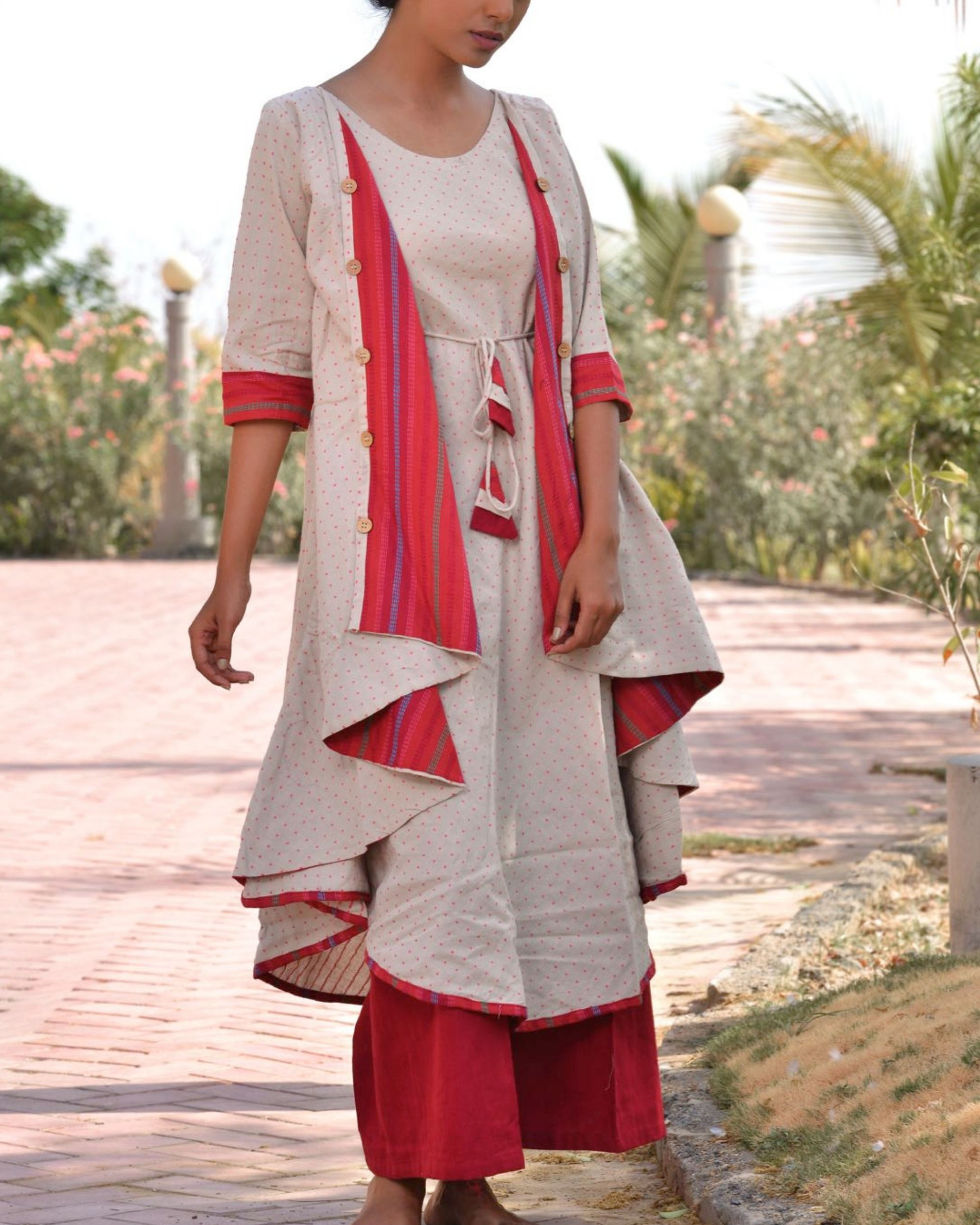 Ethnic jacket kurta with palazzo