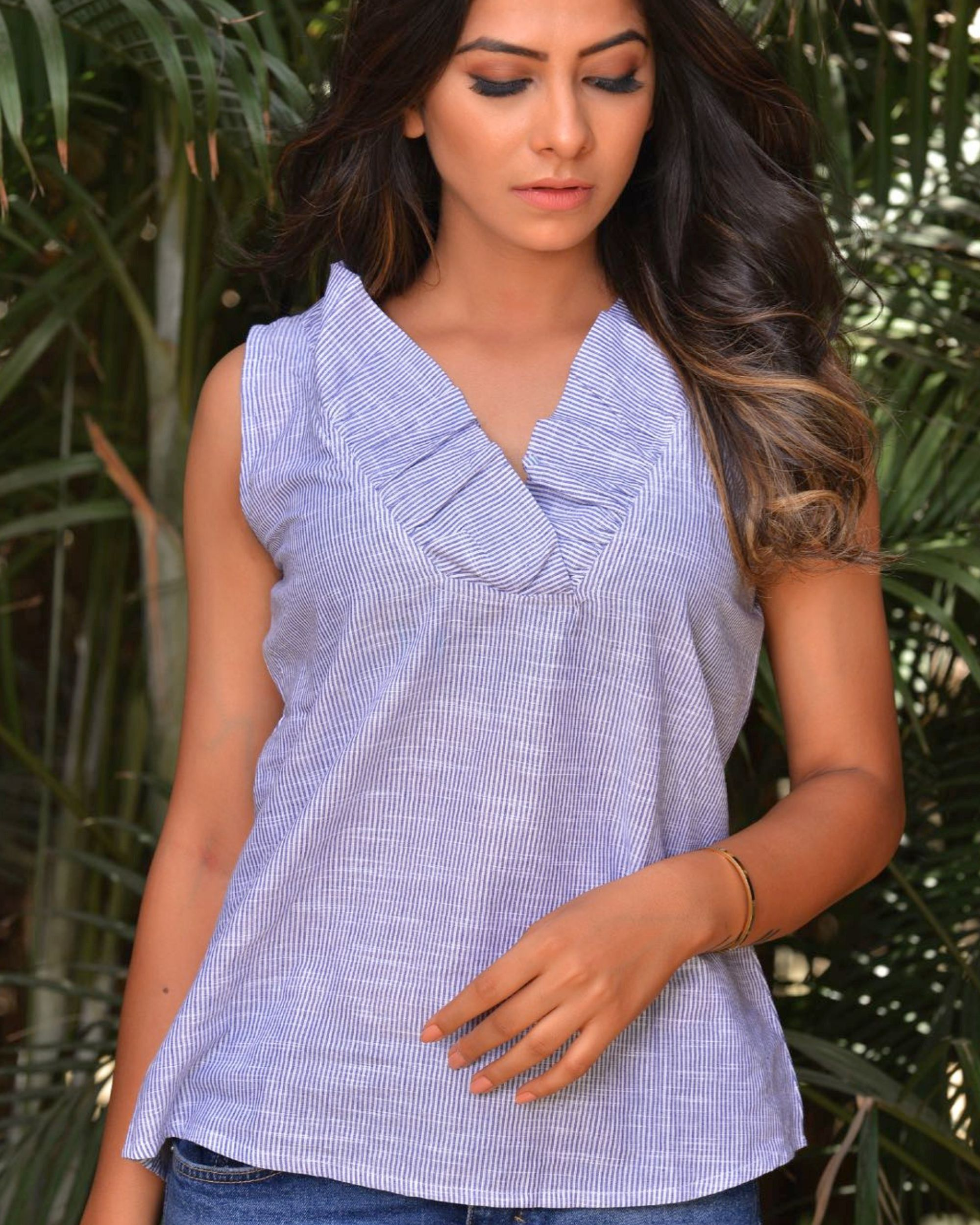 The day to day blue and white frill top