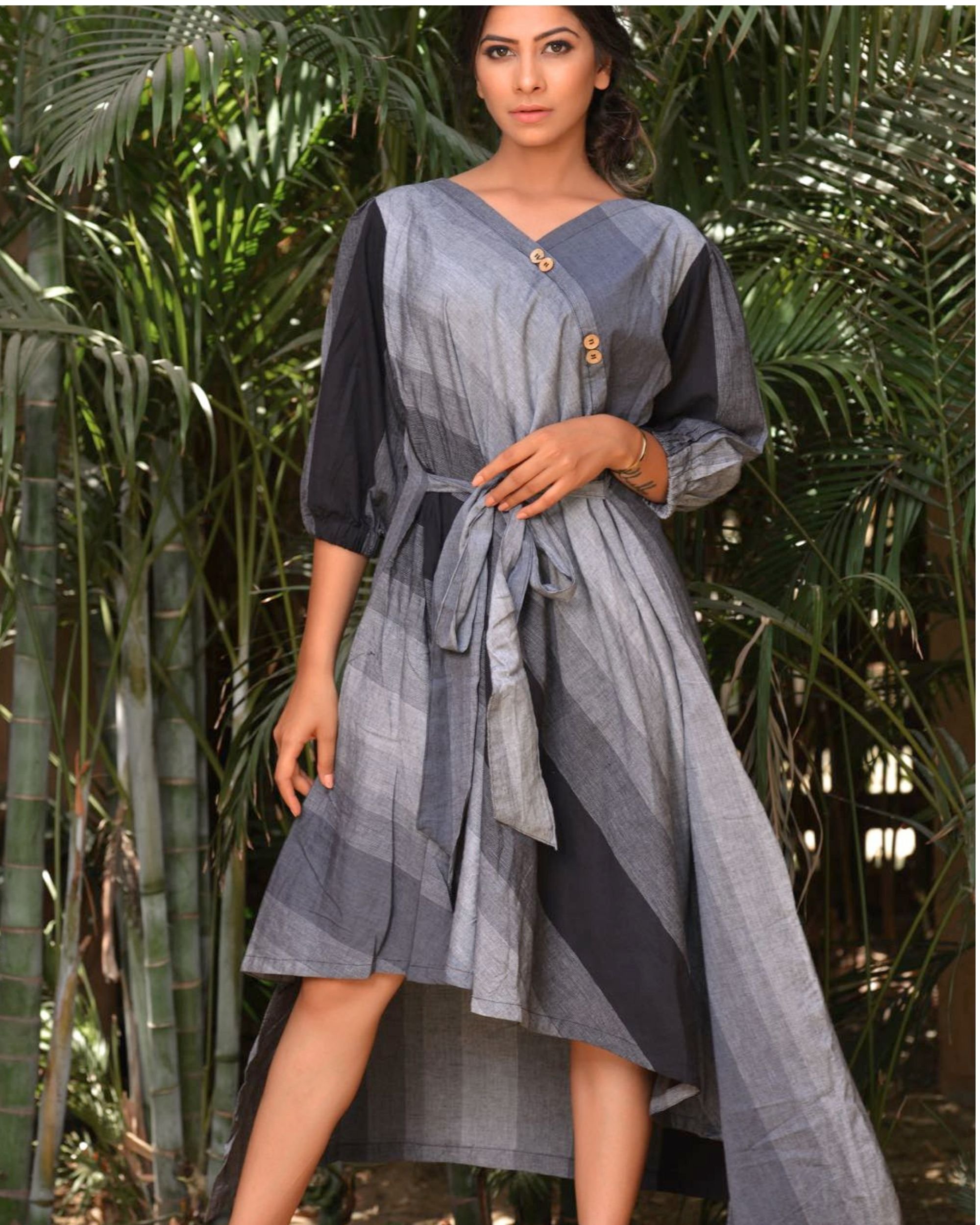 The black and grey asymmetrical knot dress