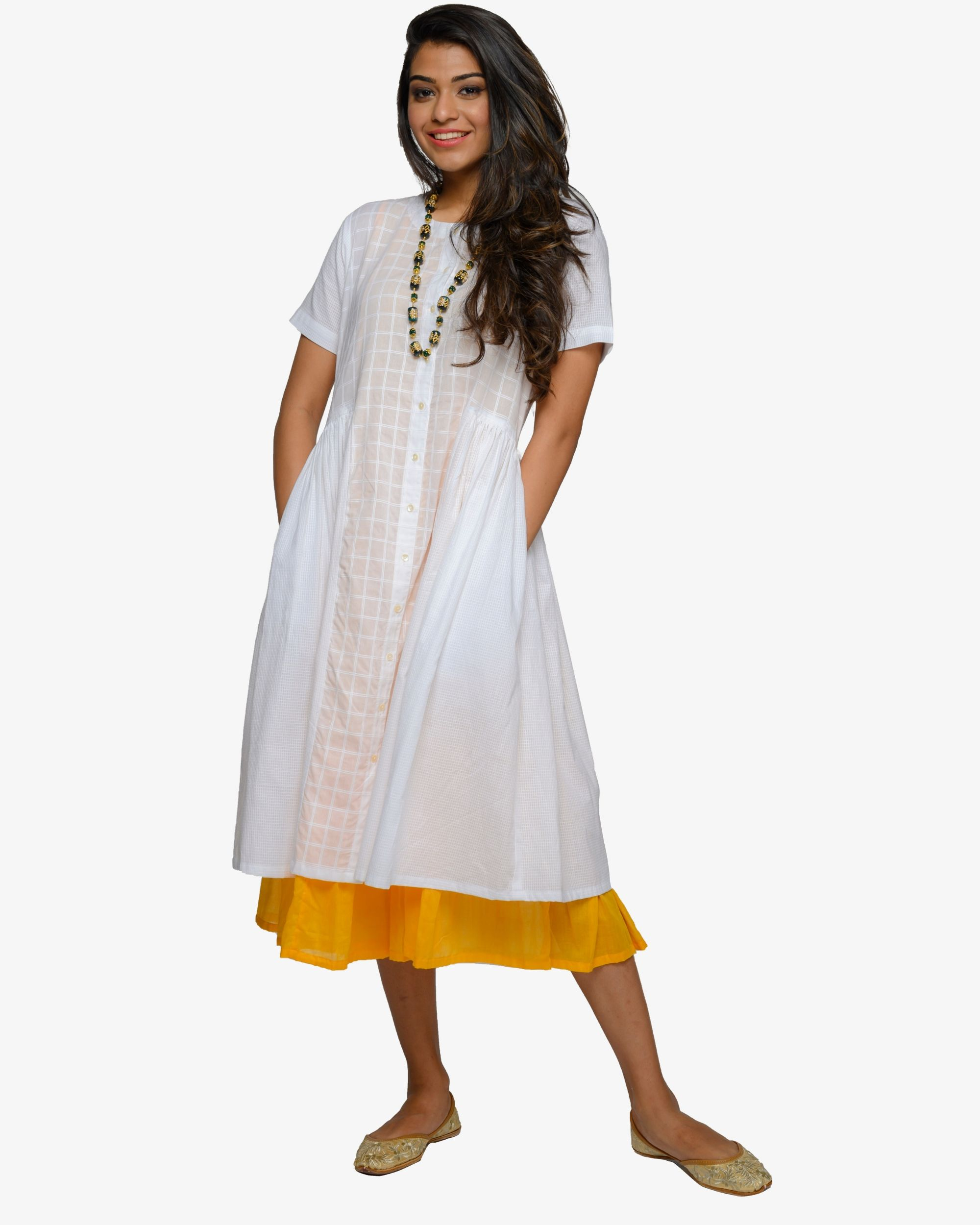 White and mustard inner dress- set of two