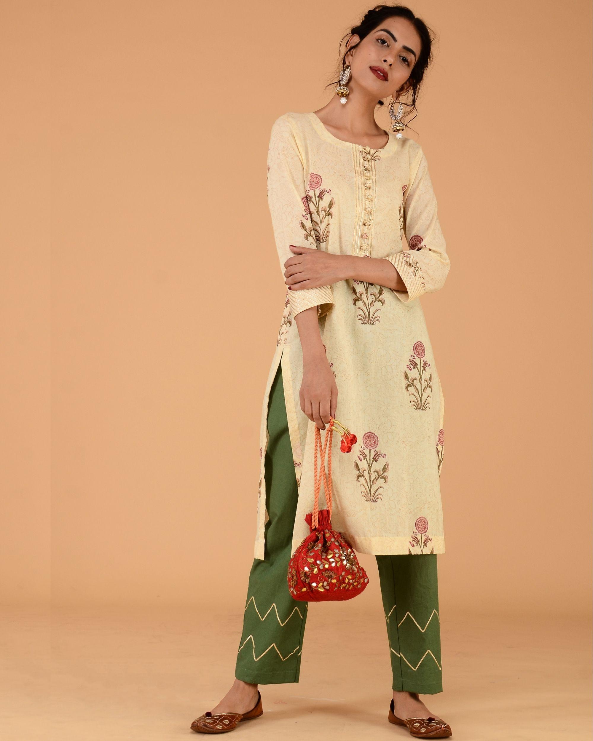 Floral print straight kurta set with olive green pants