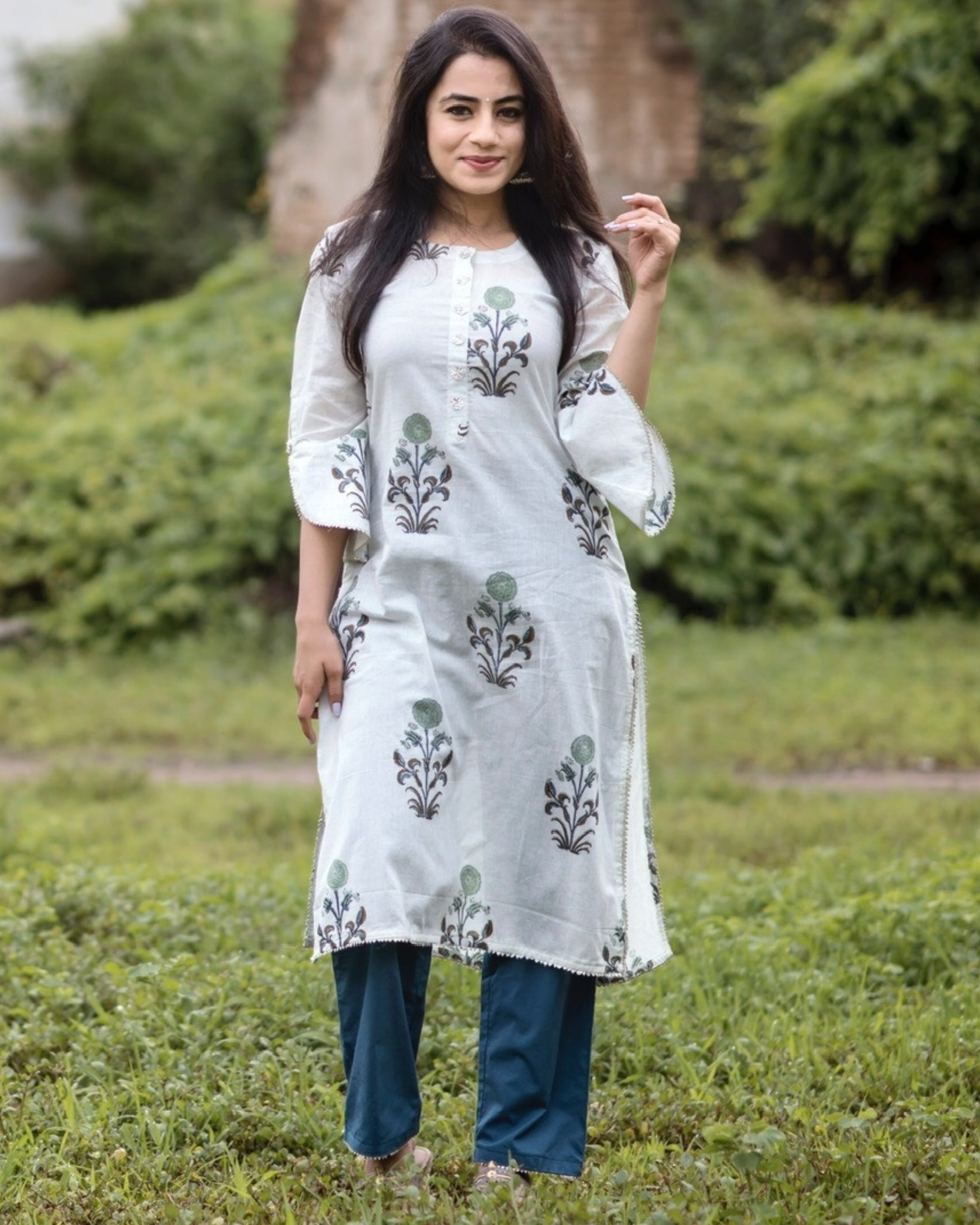 Pastel floral print straight kurta with deep blue pants- set of two