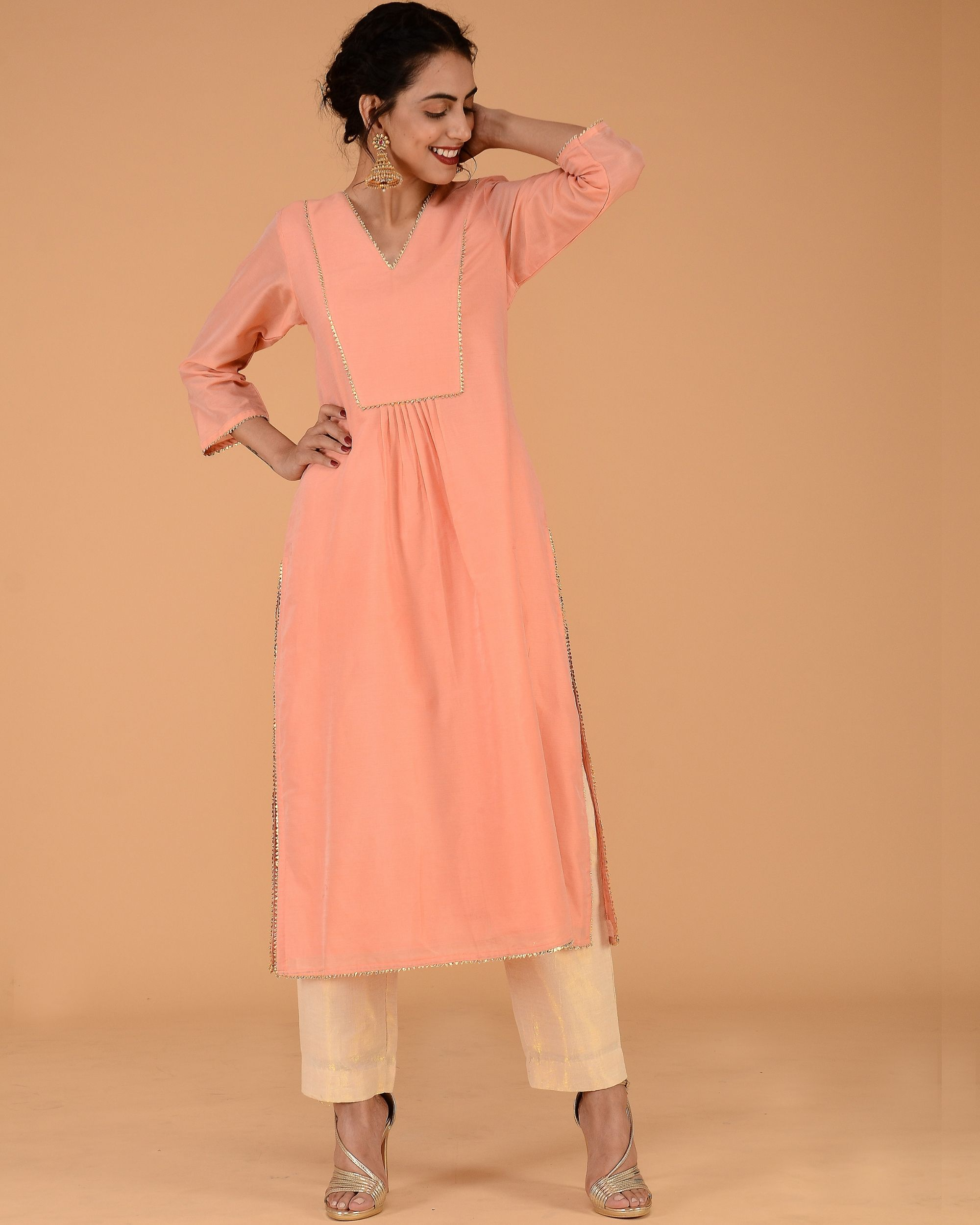 Peach chanderi pleated kurta set with straight pants - set of two