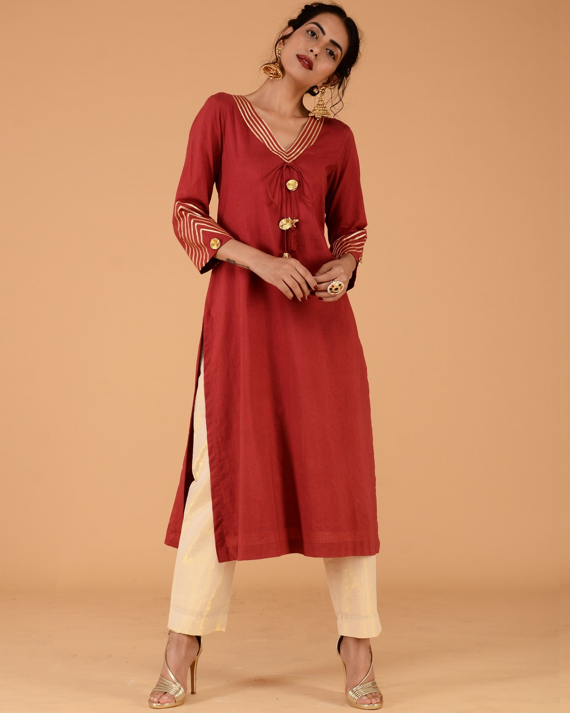 Red kurta with straight golden pants- set of two